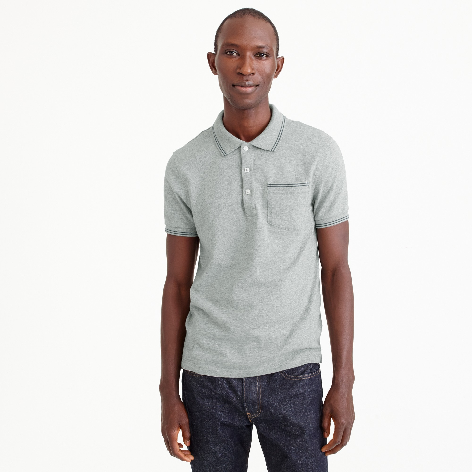 Slub cotton jersey polo in double-tipped grey men stock-up shop c