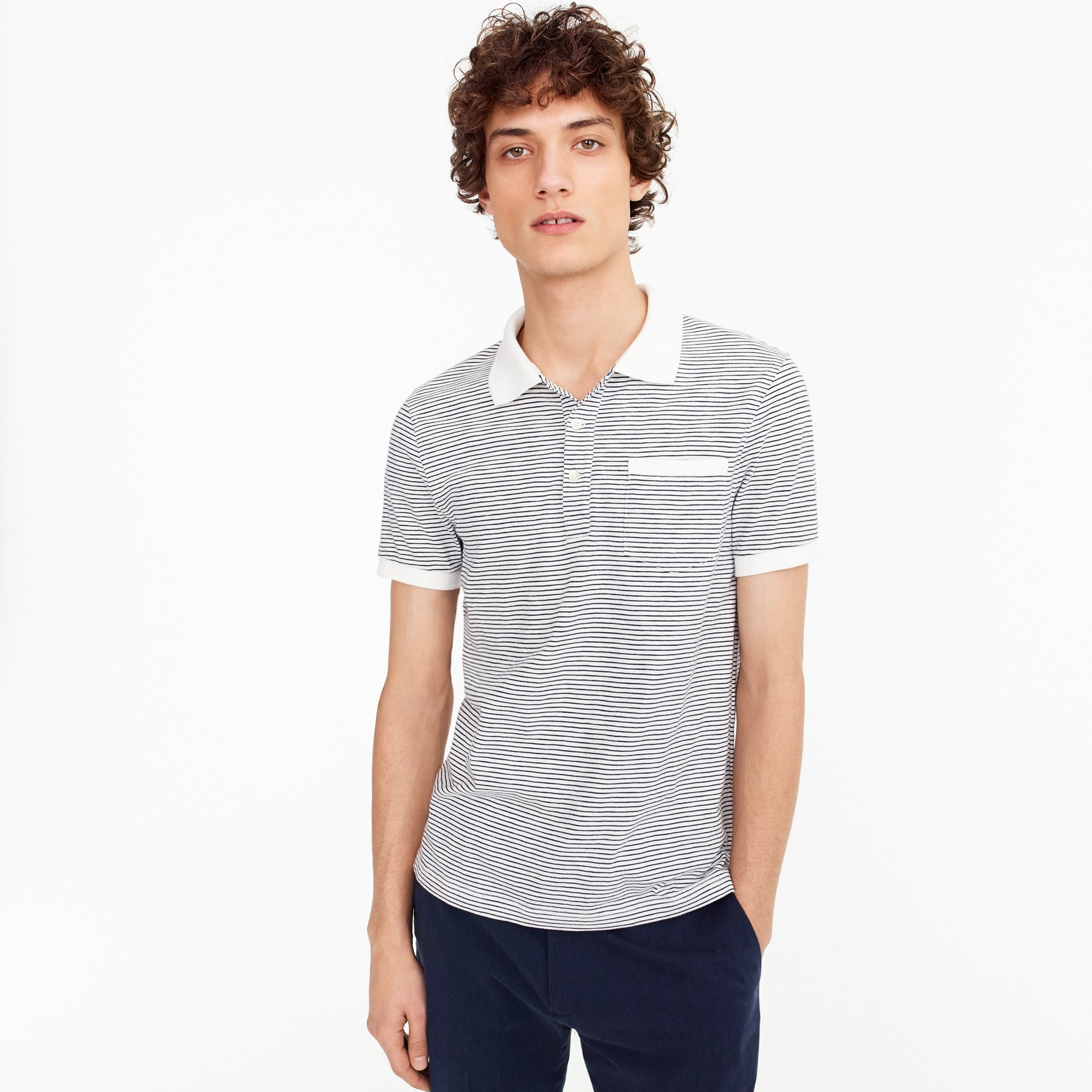 Tall slub cotton jersey polo in microstripe