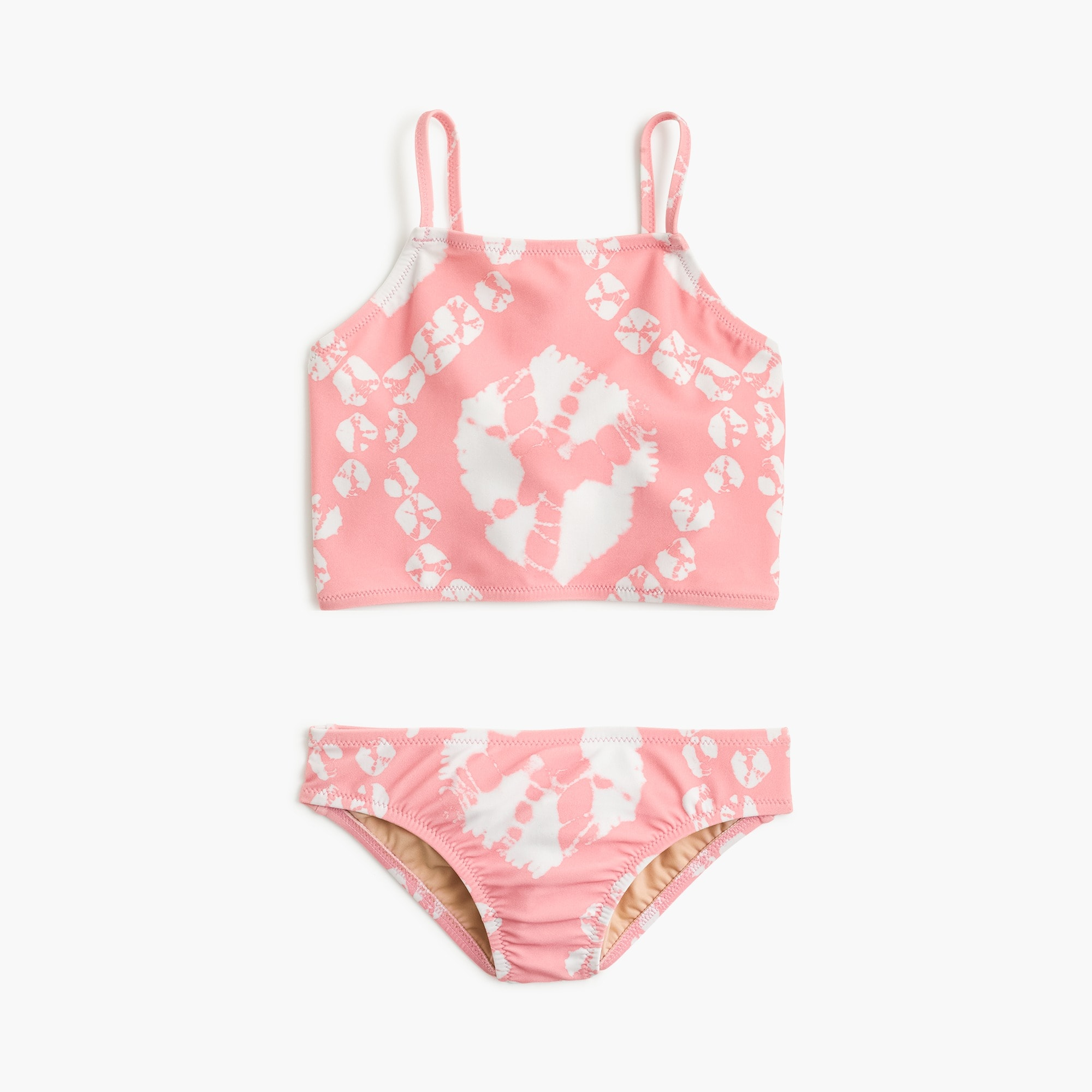 girls Girls' cropped tankini set in pink tie-dye