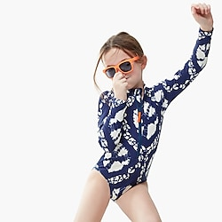 Girls' long-sleeve one-piece swimsuit in tie-dye with UPF 50+