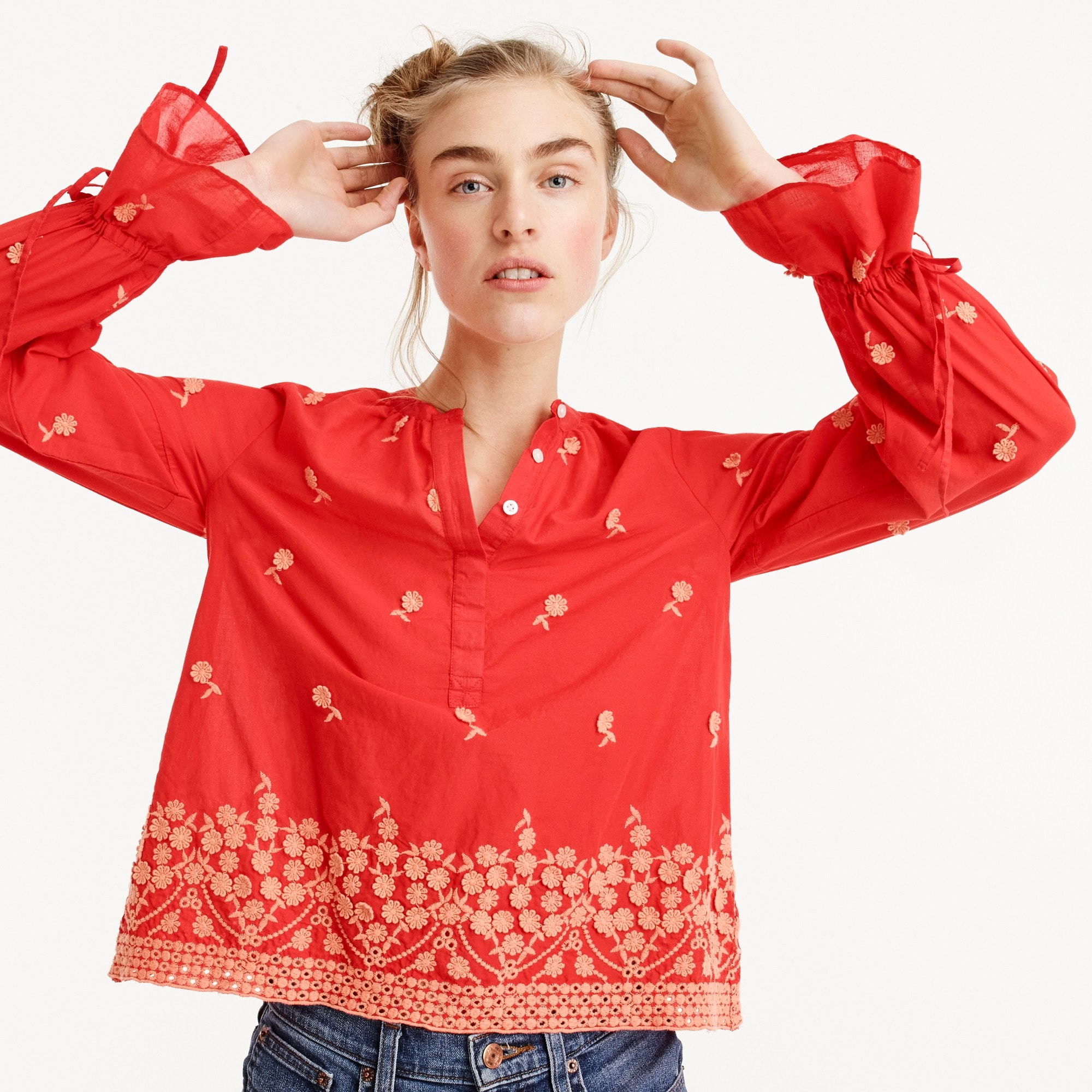 Embroidered floral popover women shirts & tops c