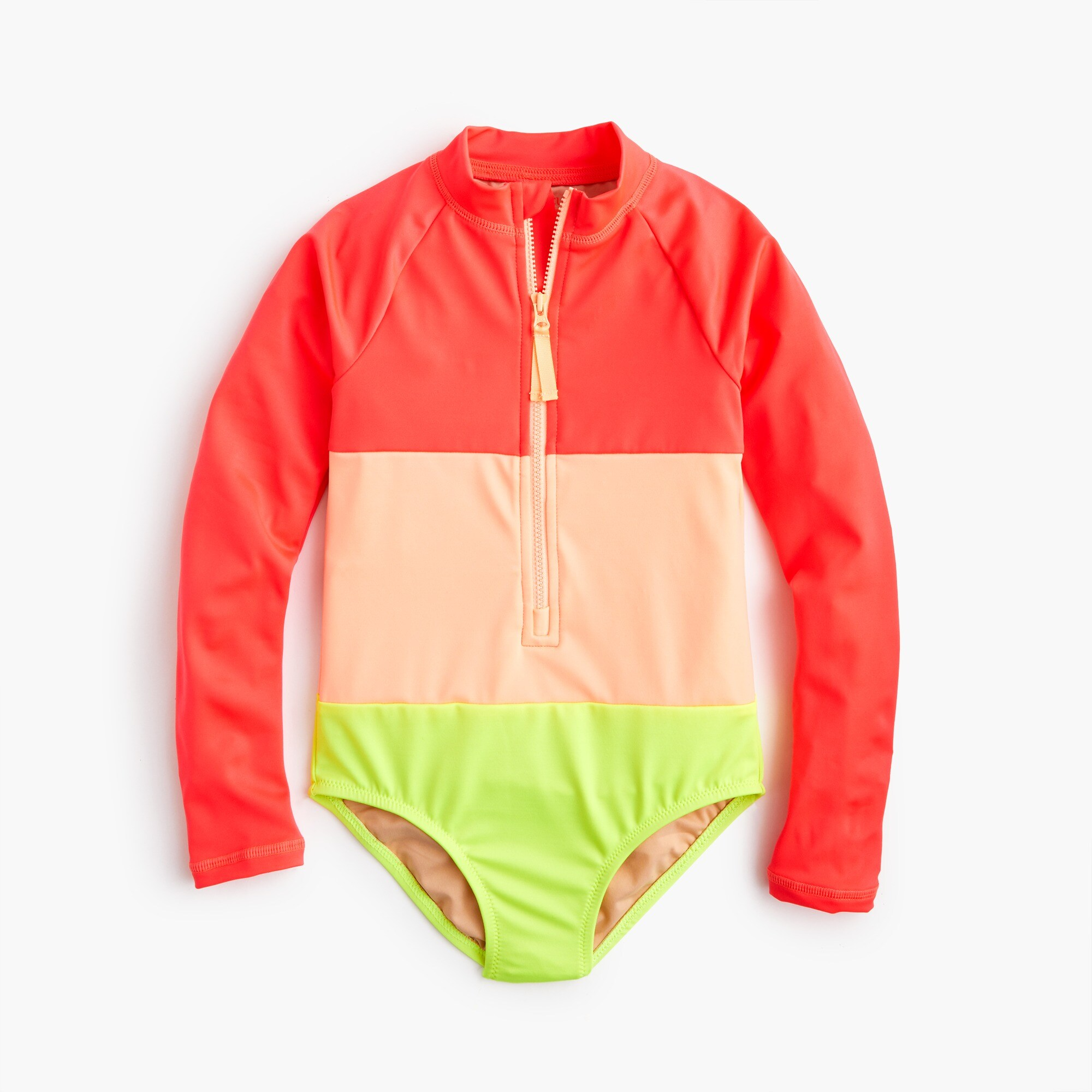 Girls' long-sleeve one-piece swimsuit in neon colorblock girl swim & rash guards c