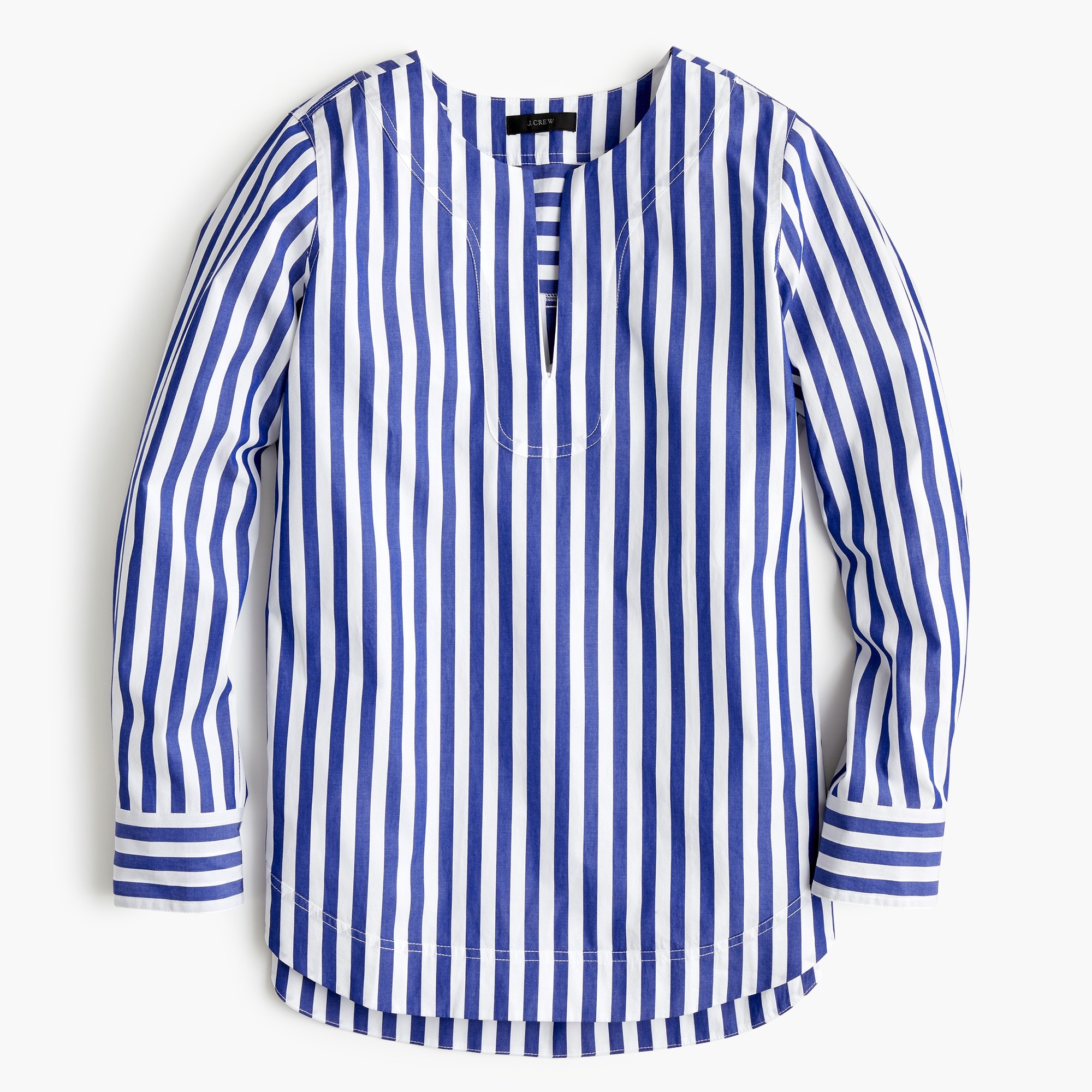 Petite tunic in bold stripe cotton poplin
