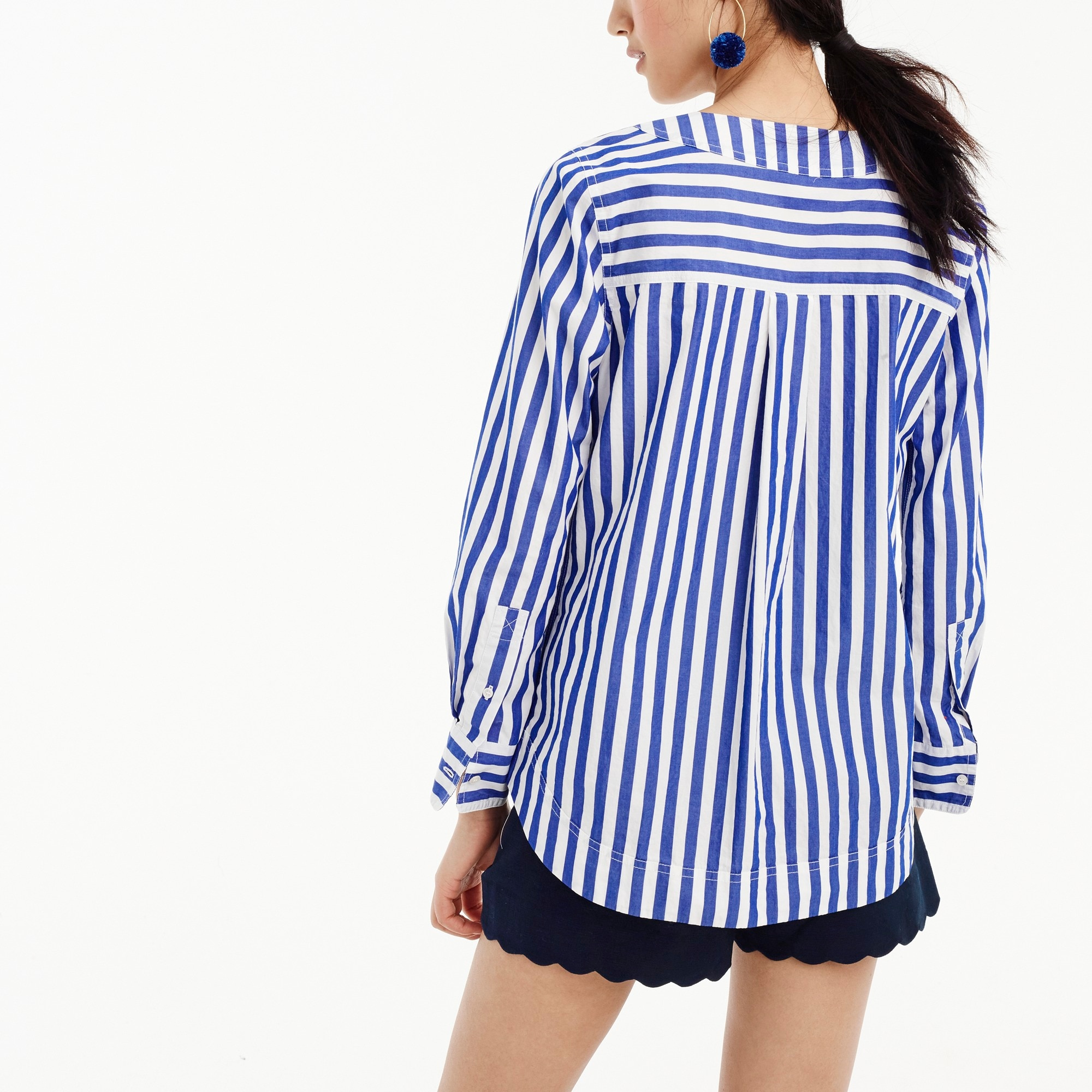 Tall tunic in bold stripe cotton poplin