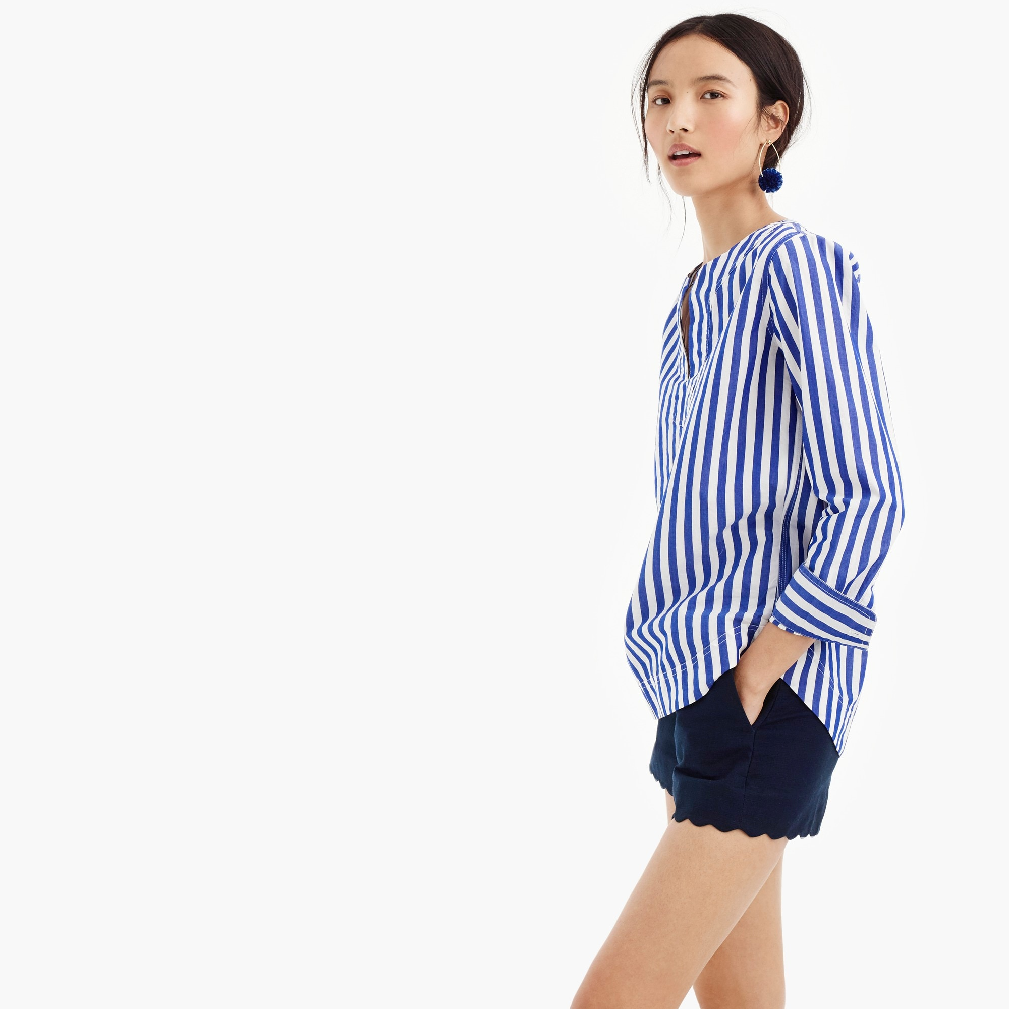 Image 1 for Petite tunic in bold stripe cotton poplin