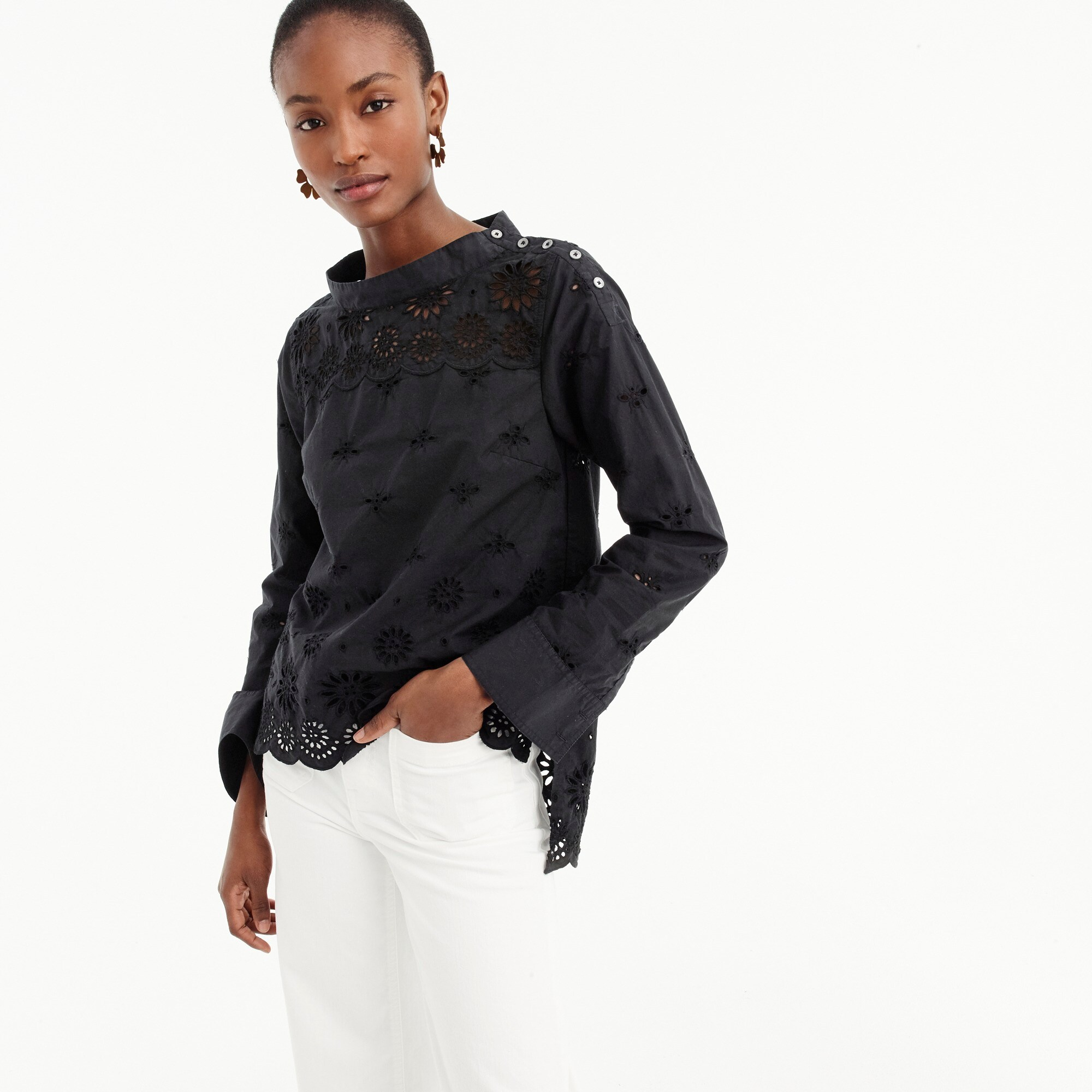 Tall funnelneck shirt in eyelet