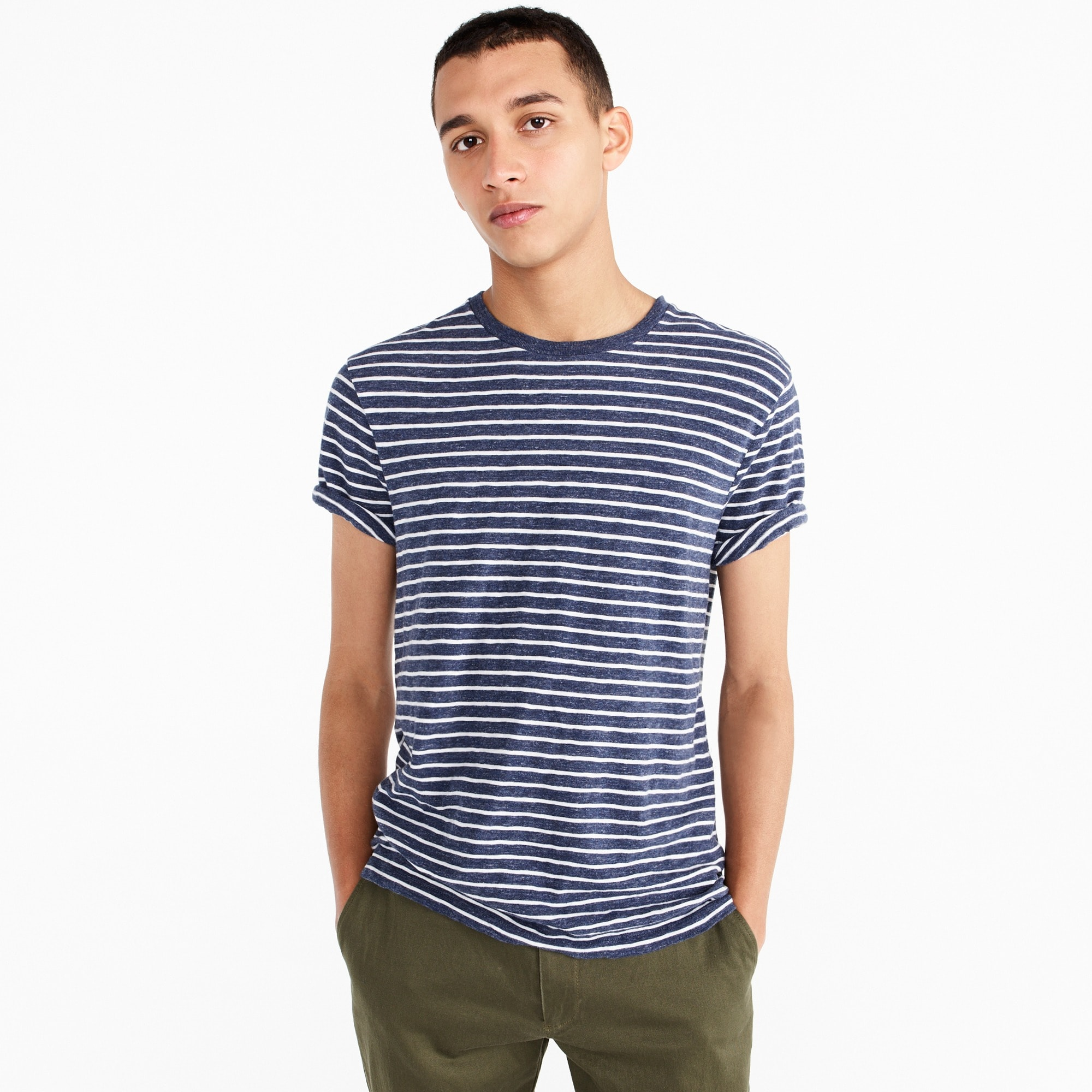 Slub cotton T-shirt in stripe men stock-up shop c