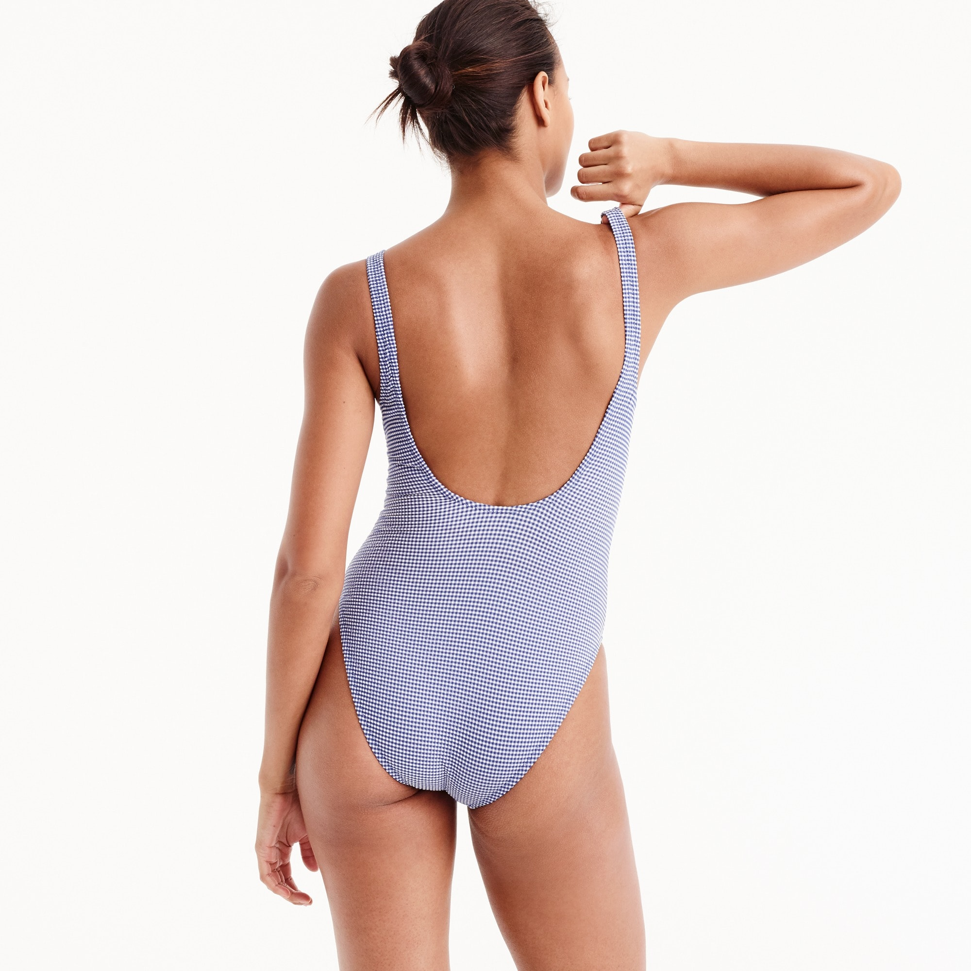 Image 2 for Underwire scoopback one-piece swimsuit in tiny gingham