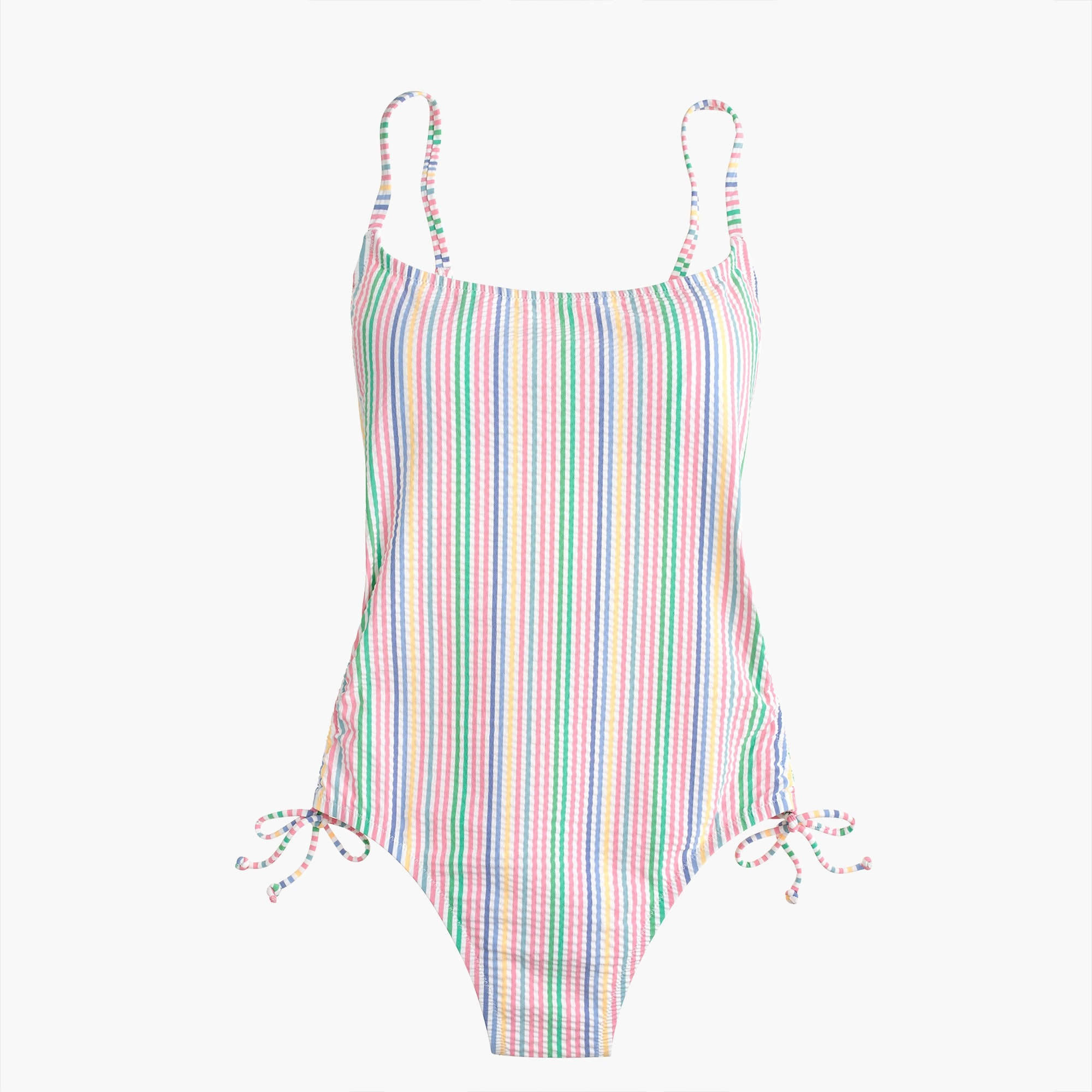 Ruched side one-piece swimsuit in rainbow seersucker