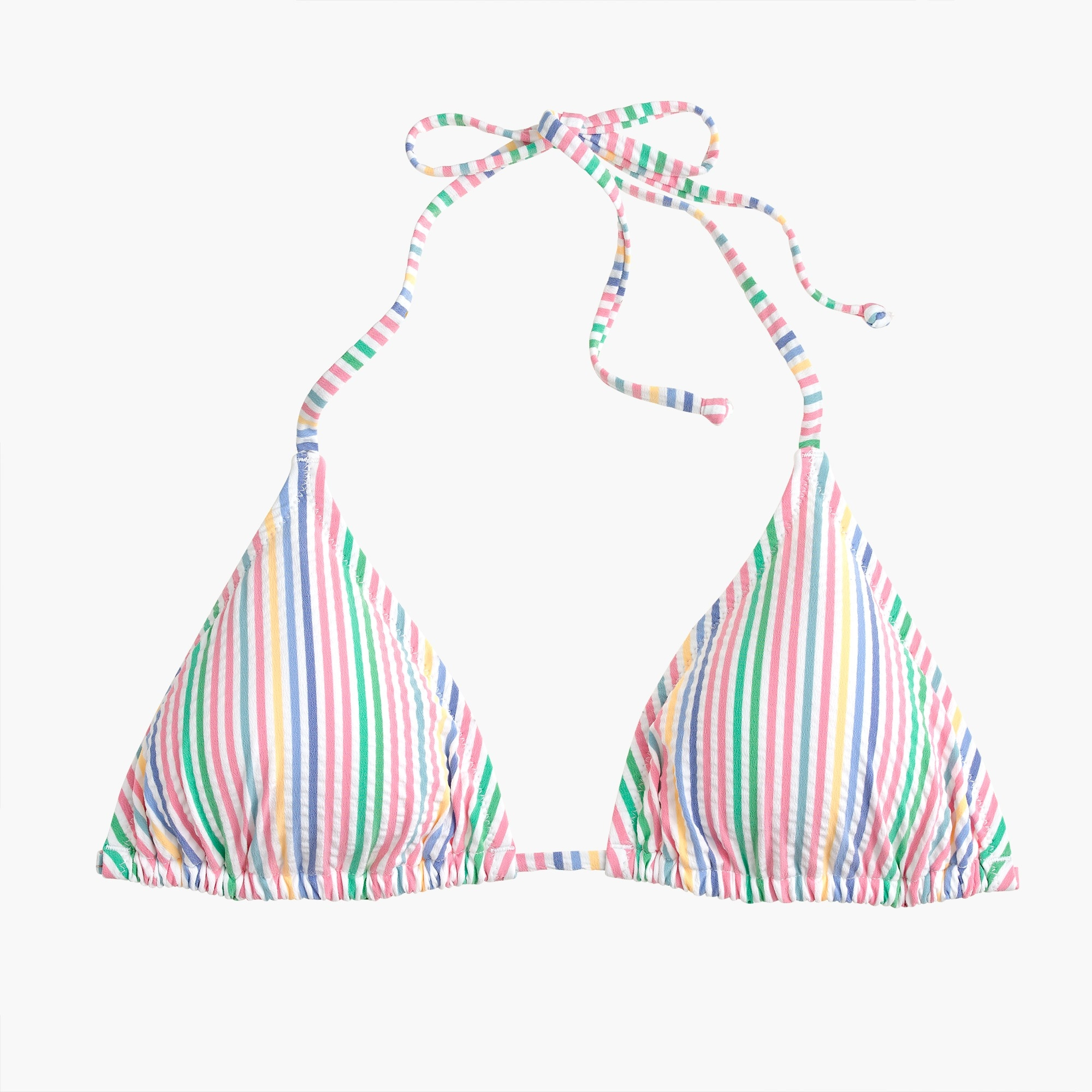 Image 4 for String bikini top in rainbow seersucker