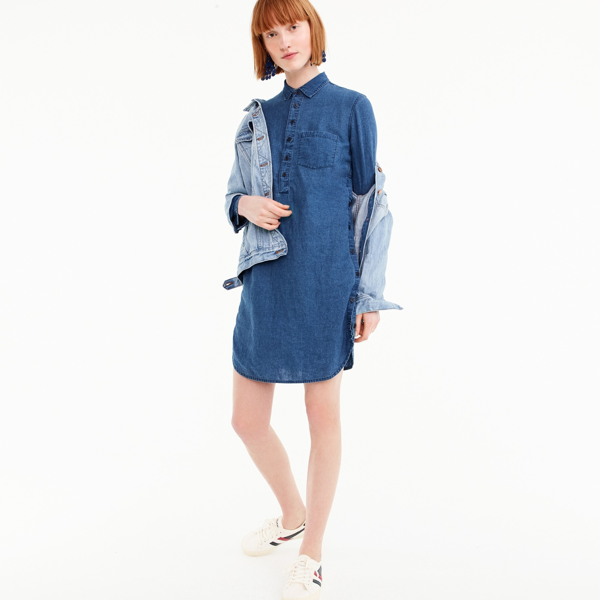 Side-button shirtdress in chambray women dresses c