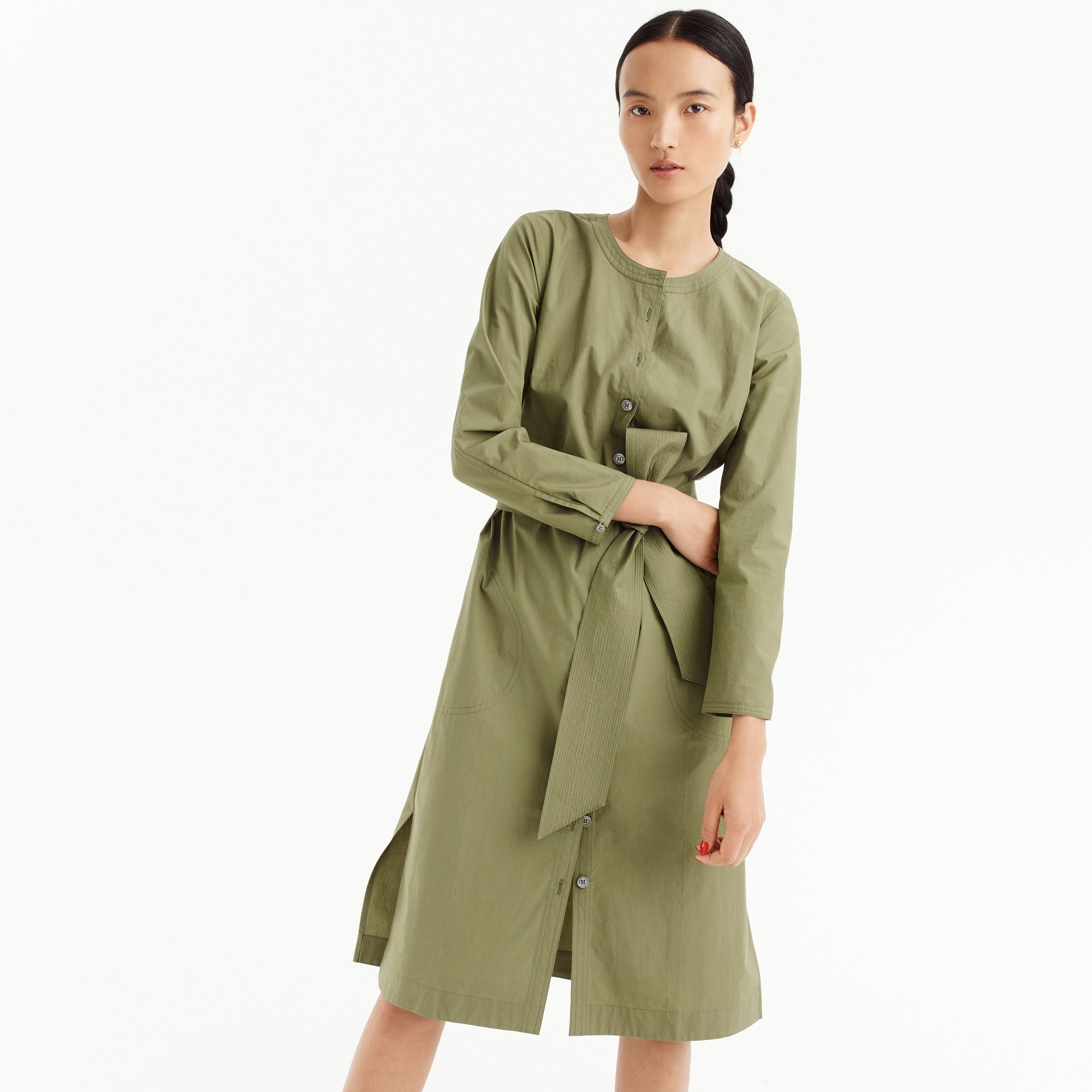 Petite long-sleeve shirtdress women dresses c