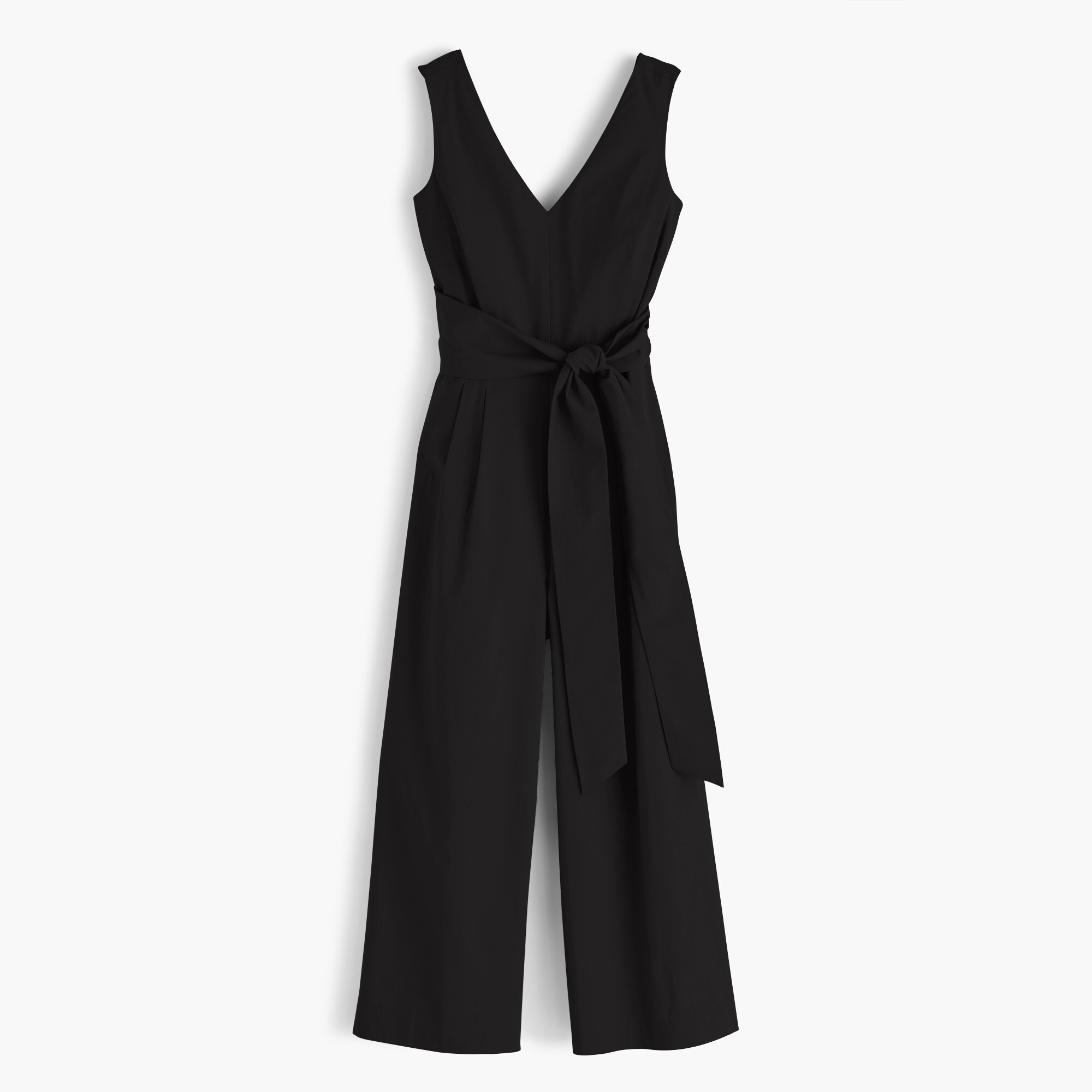 Image 2 for Wrap-tie jumpsuit in stretch poplin