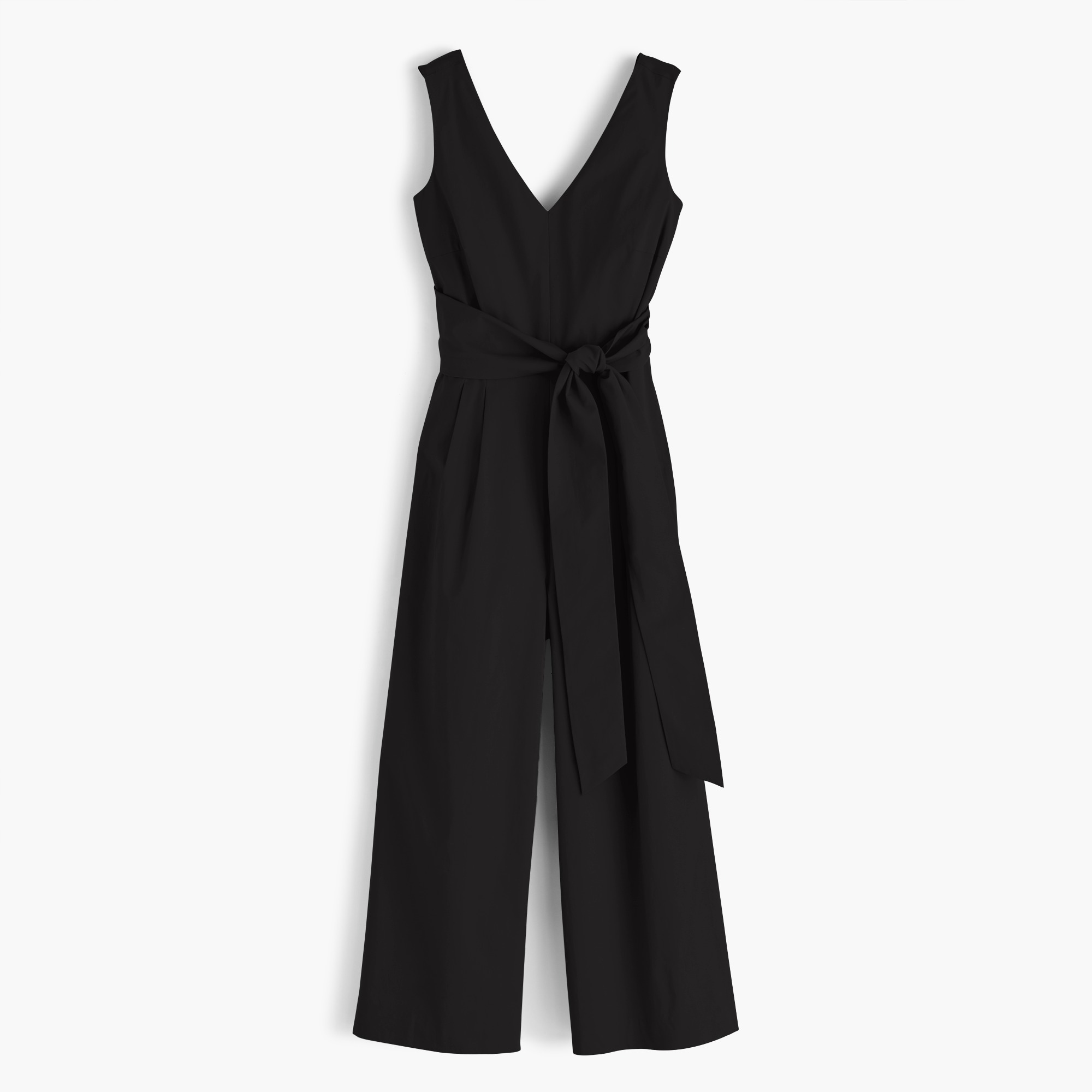 Image 7 for Wrap-tie jumpsuit in stretch poplin