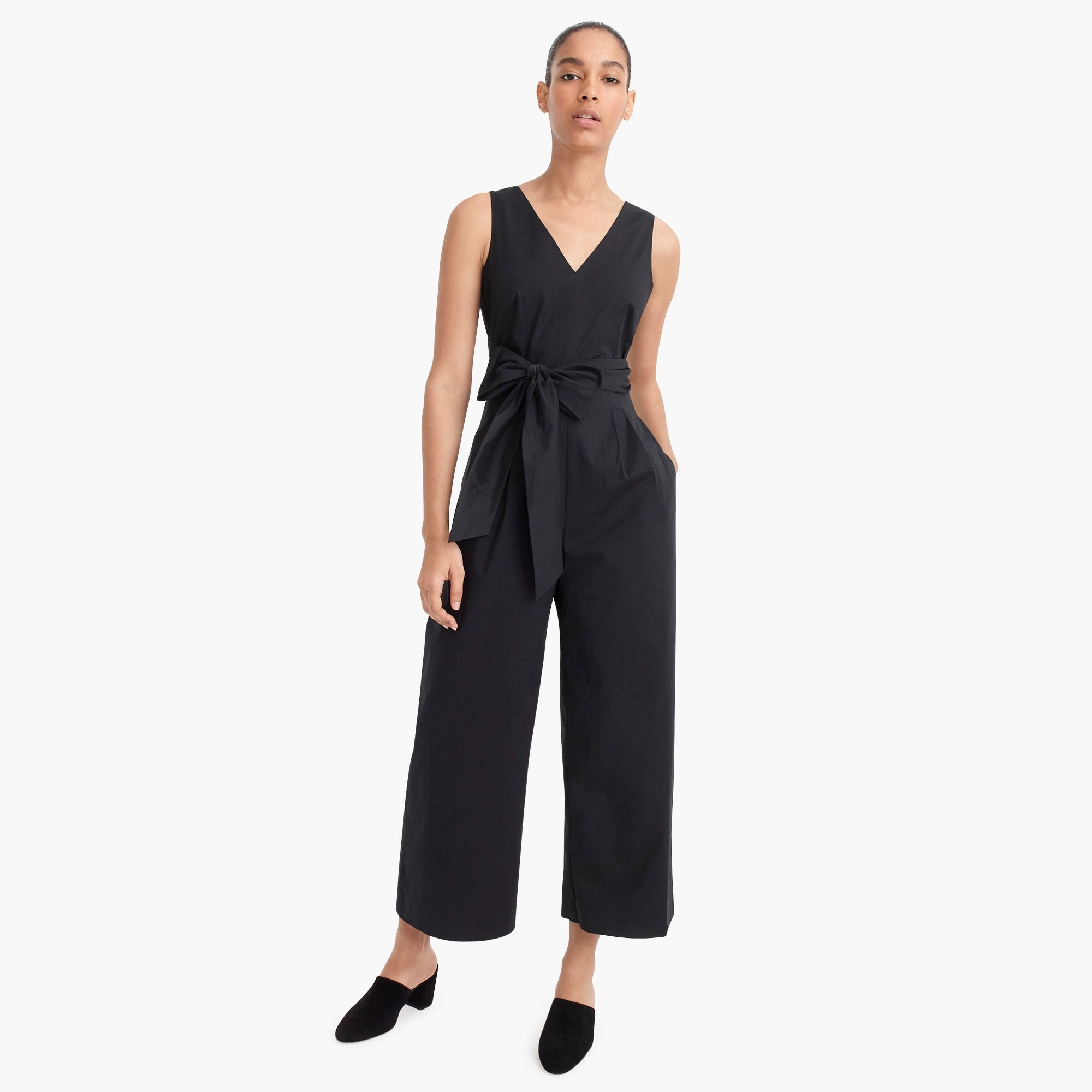 Wrap-tie jumpsuit in stretch poplin