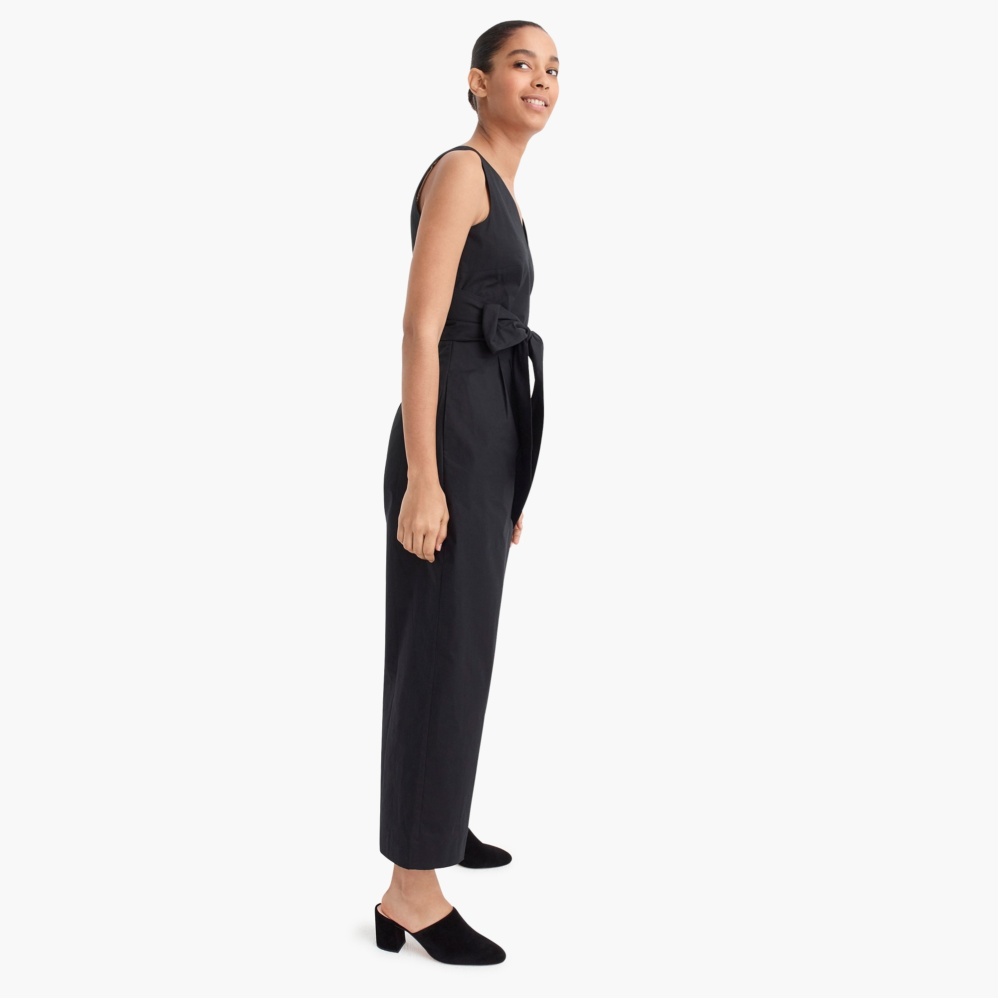 Image 5 for Wrap-tie jumpsuit in stretch poplin