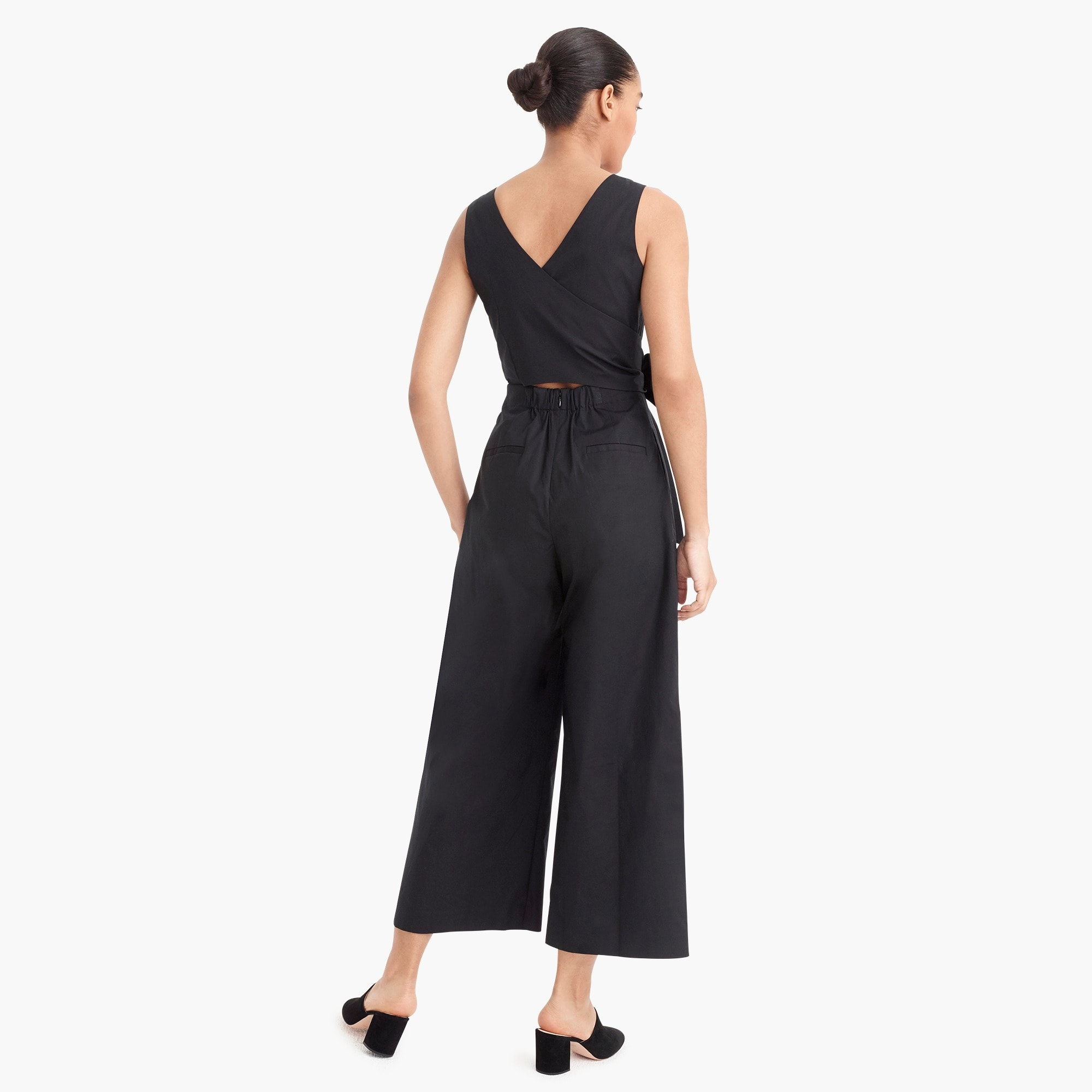 Image 6 for Wrap-tie jumpsuit in stretch poplin