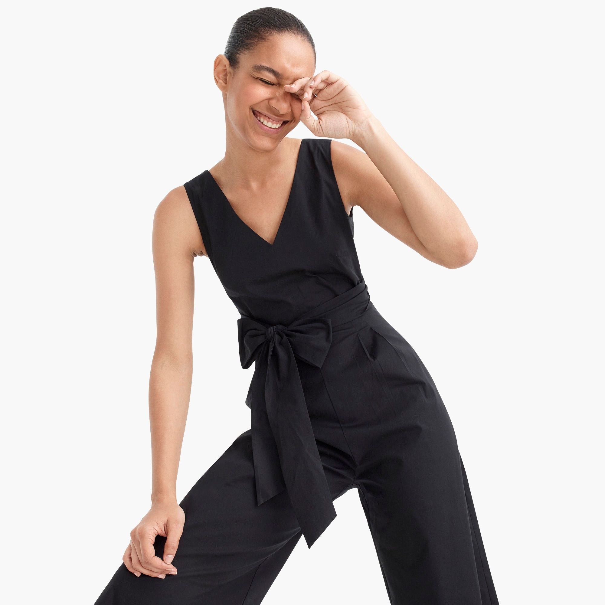Image 1 for Wrap-tie jumpsuit in stretch poplin