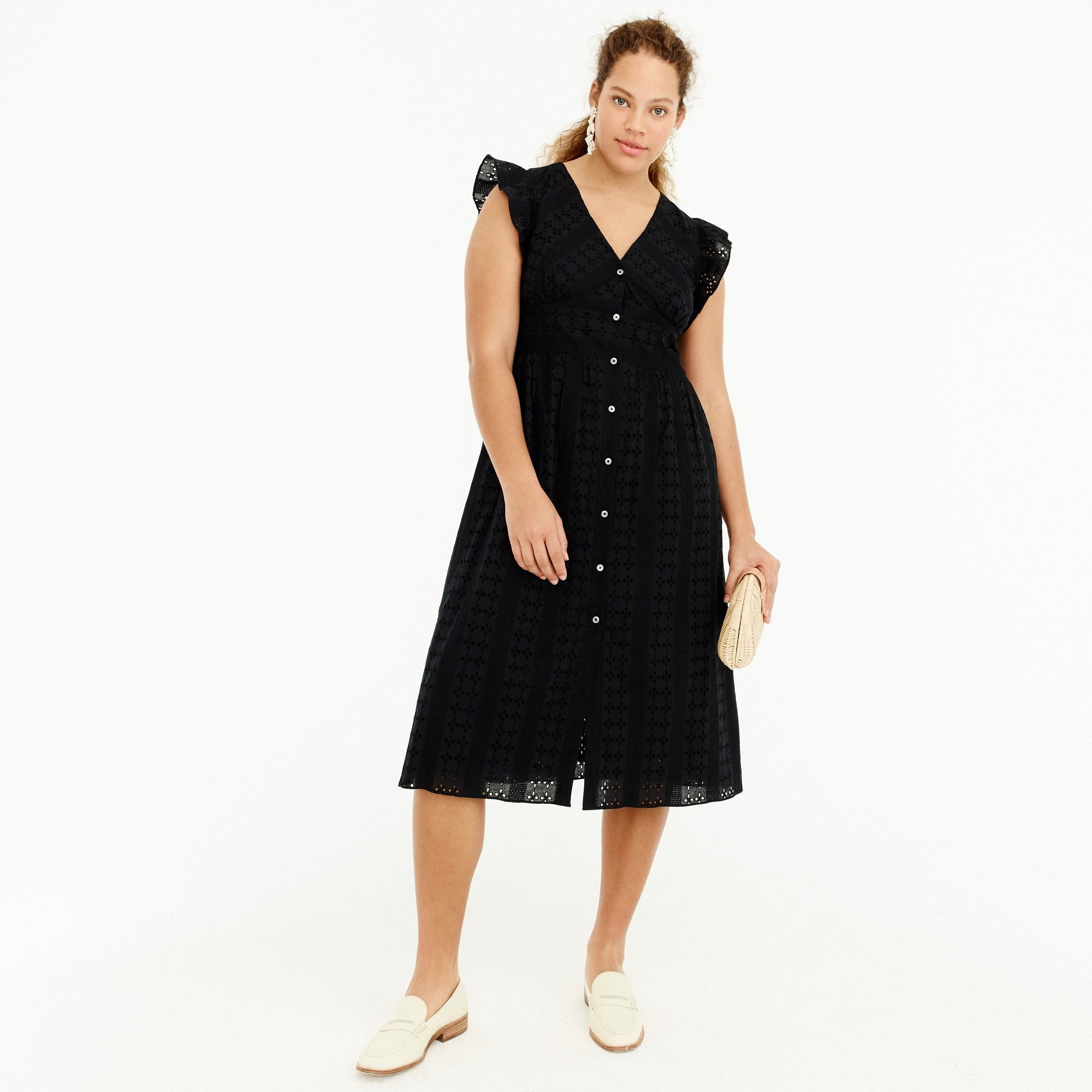 Ruffle-sleeve eyelet dress