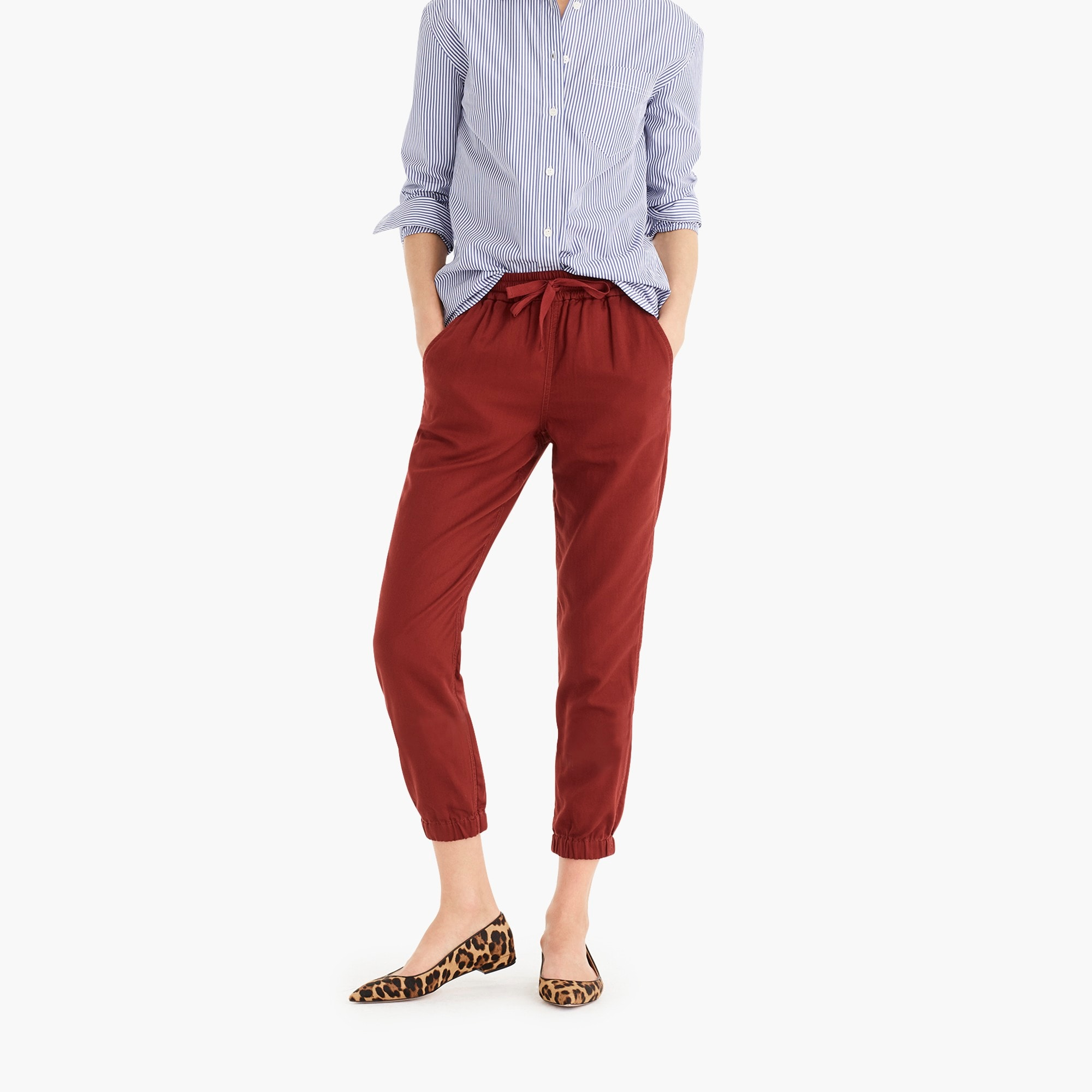 womens Petite Point Sur seaside pant in cotton twill