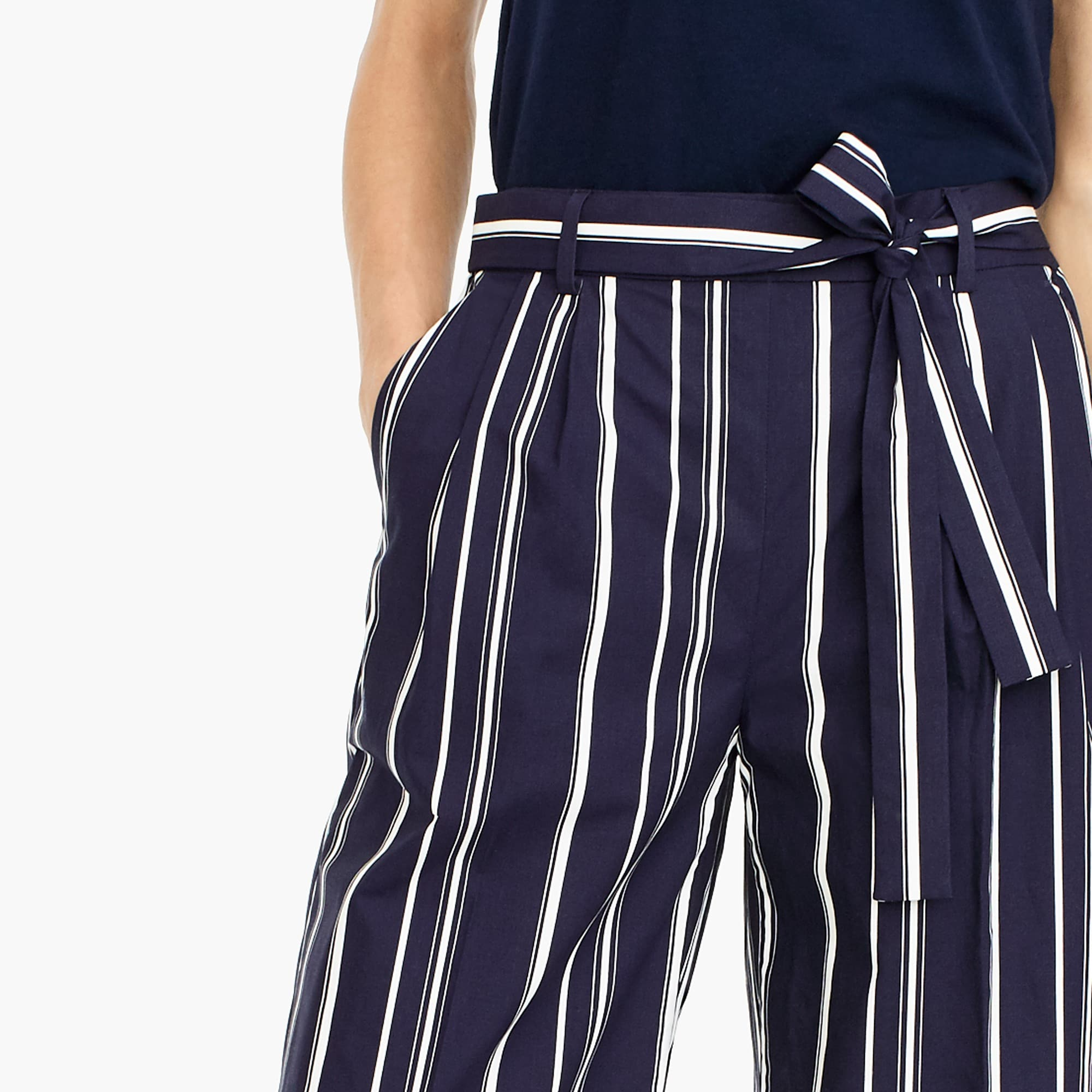 Image 3 for Tall wide-leg cropped pant in stripe