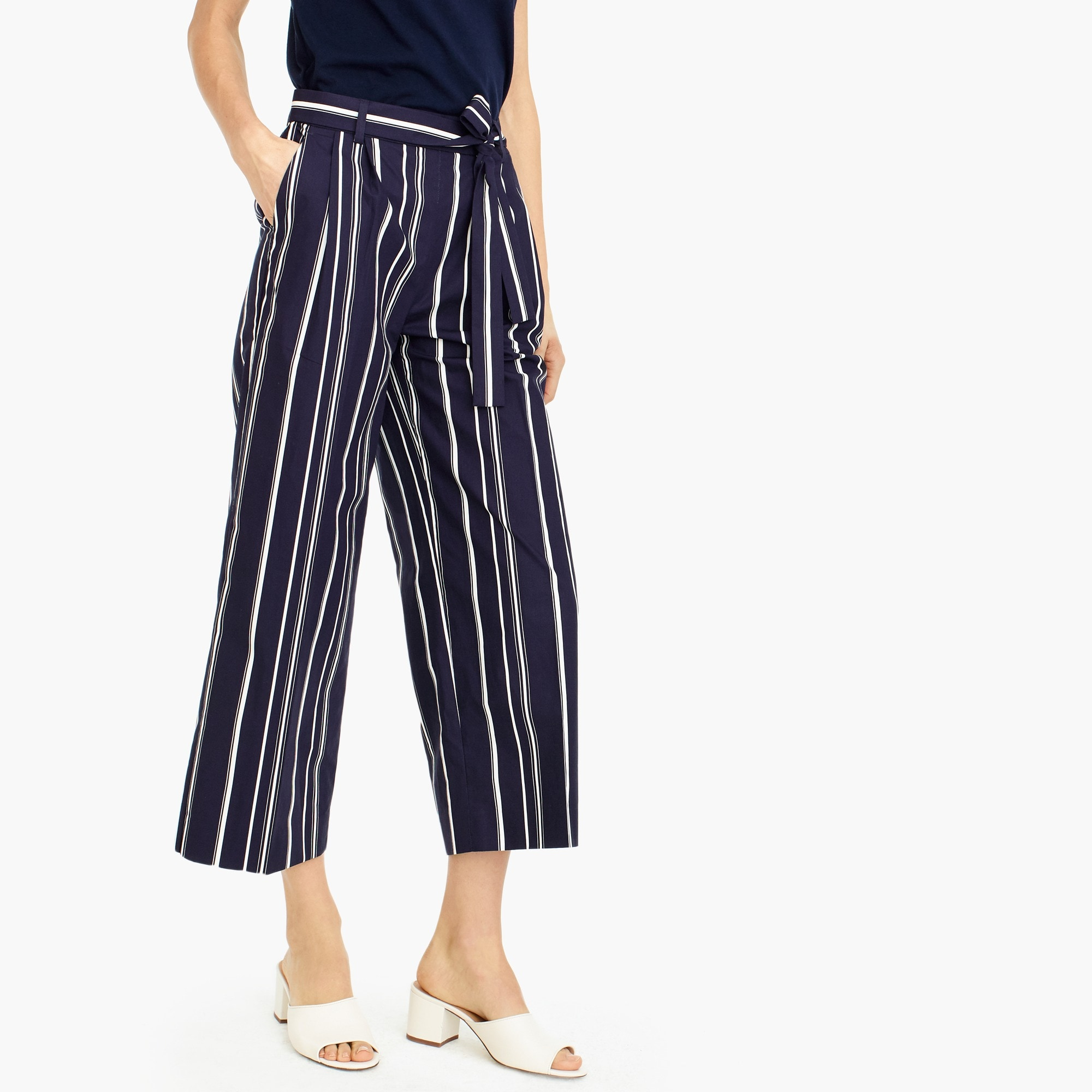 women's tall wide-leg cropped pant in stripe - women's pants