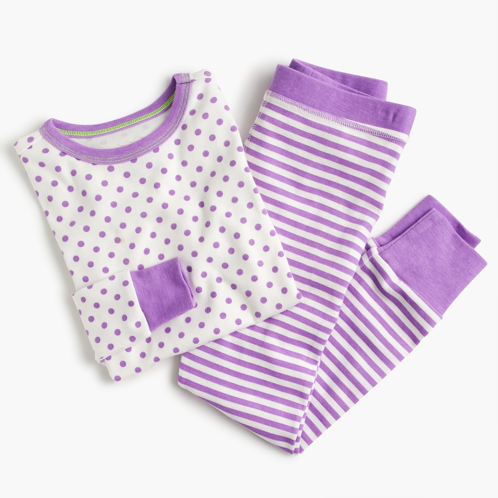 Girls' pajama set in dots and stripes girl pajama shop c