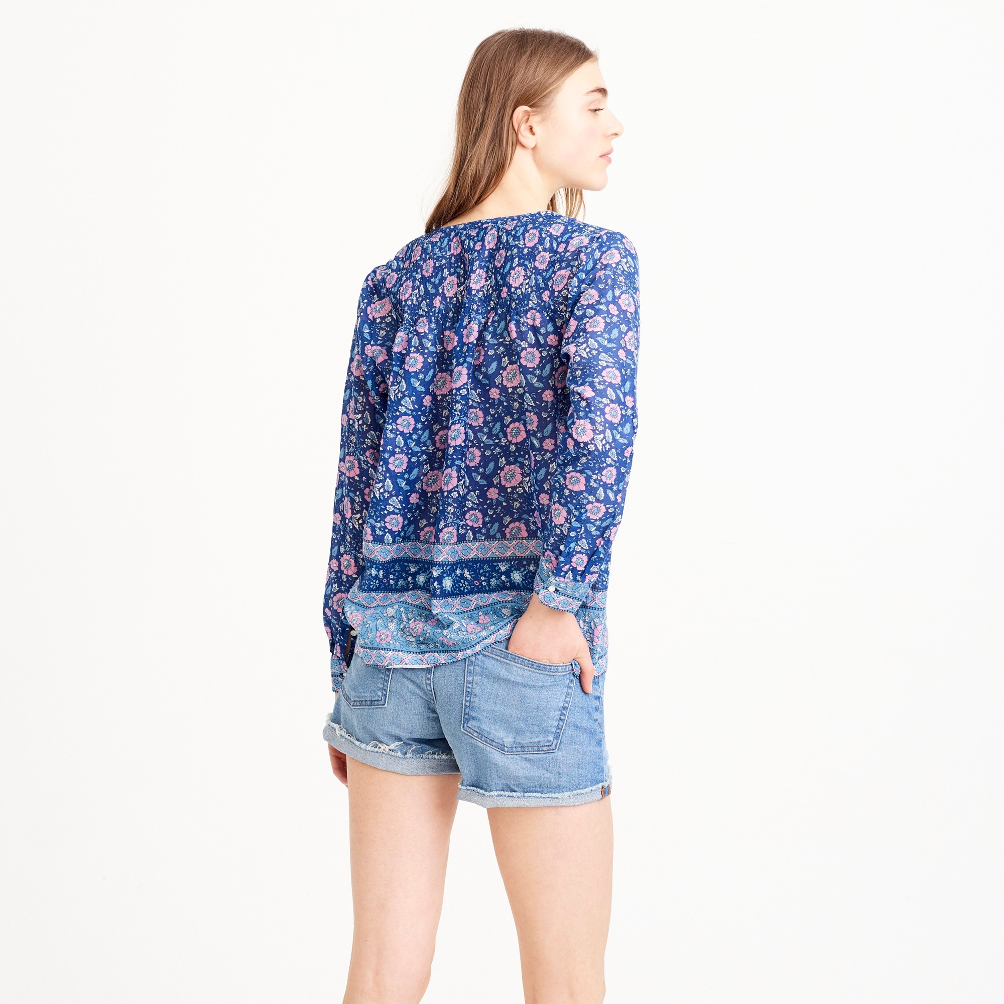 Image 3 for Cotton voile popover shirt in floral block print