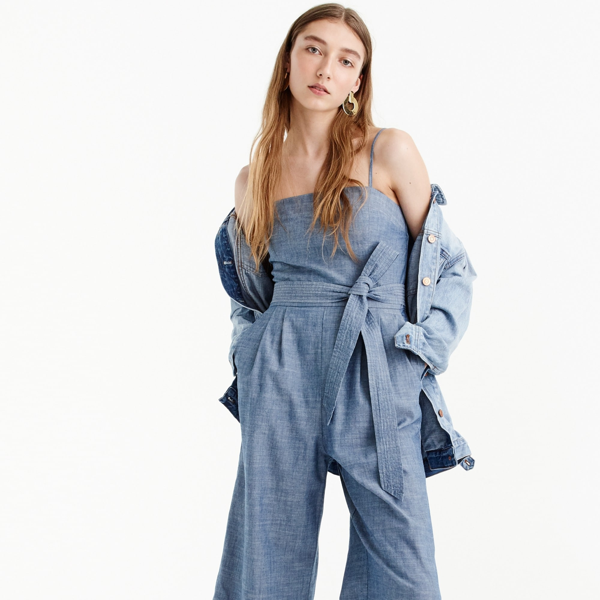 Chambray jumpsuit with tie women new arrivals c