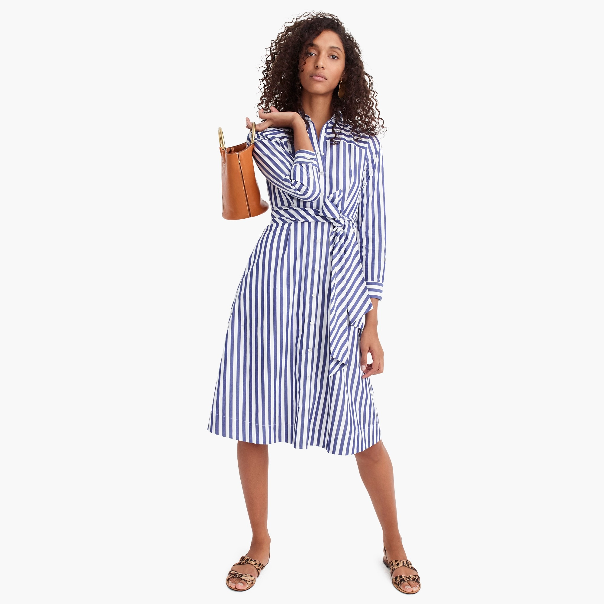 Tie-waist shirtdress in stripe