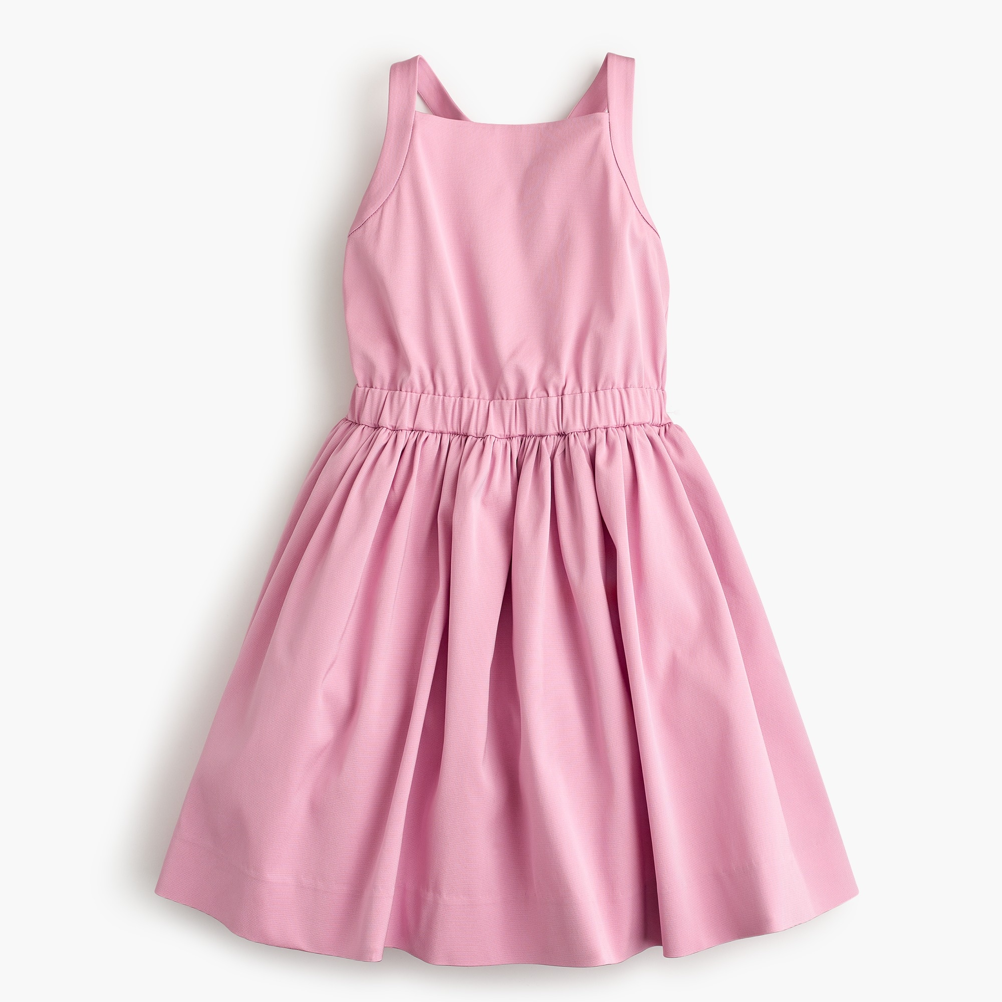 Girls' bow-back dress in stretch faille