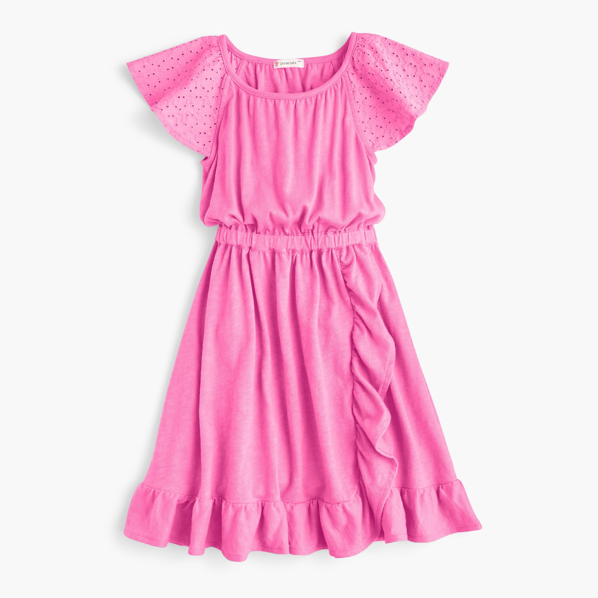 Girls' eyelet-sleeve dress girl new arrivals c