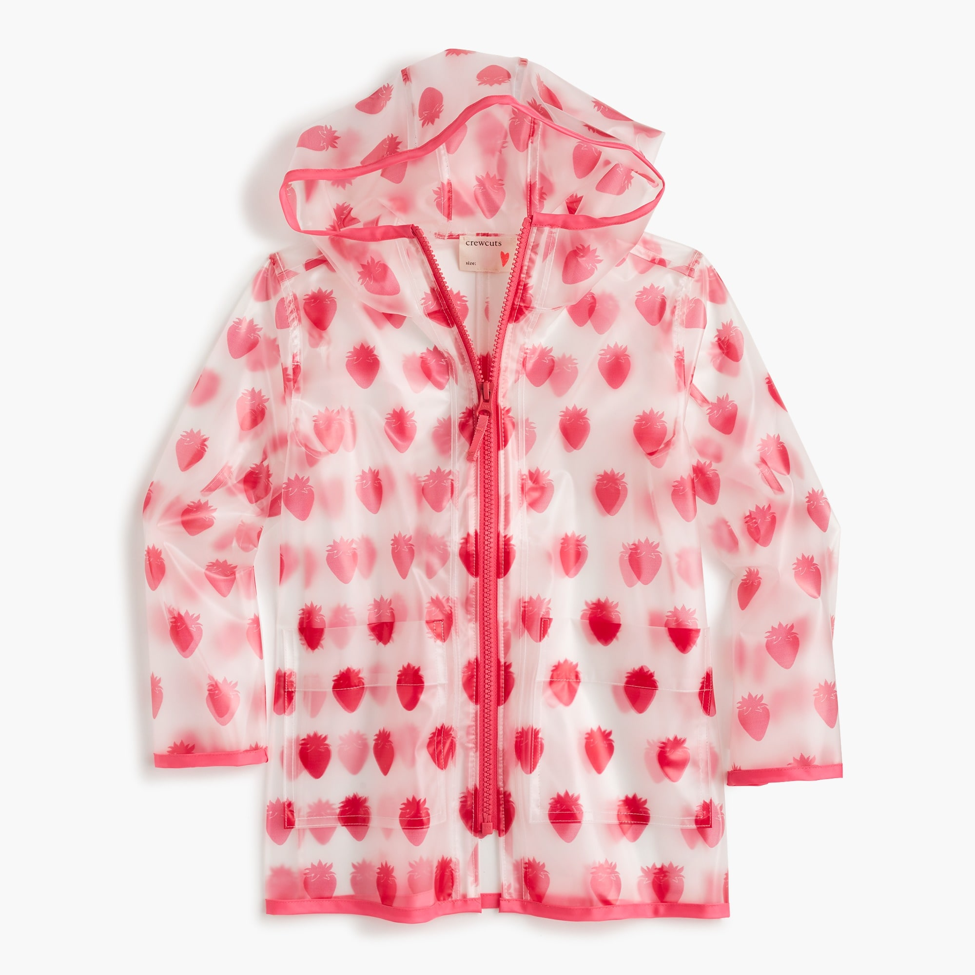 girls' rain jacket in strawberry print - girls' outerwear & jackets
