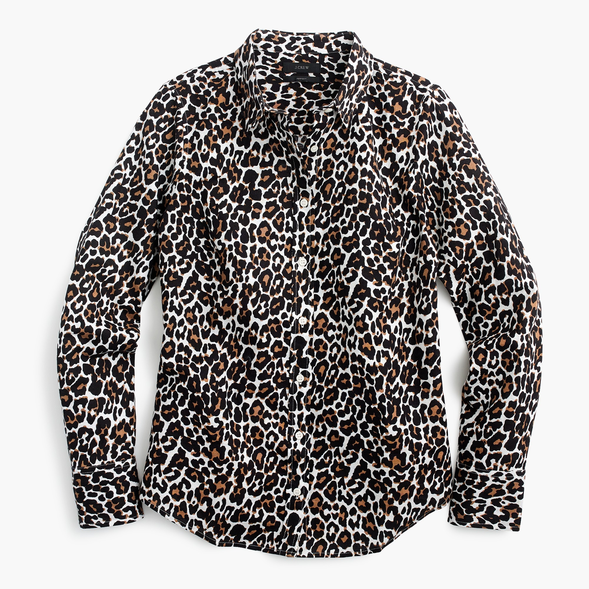 Image 2 for Petite slim perfect shirt in leopard print