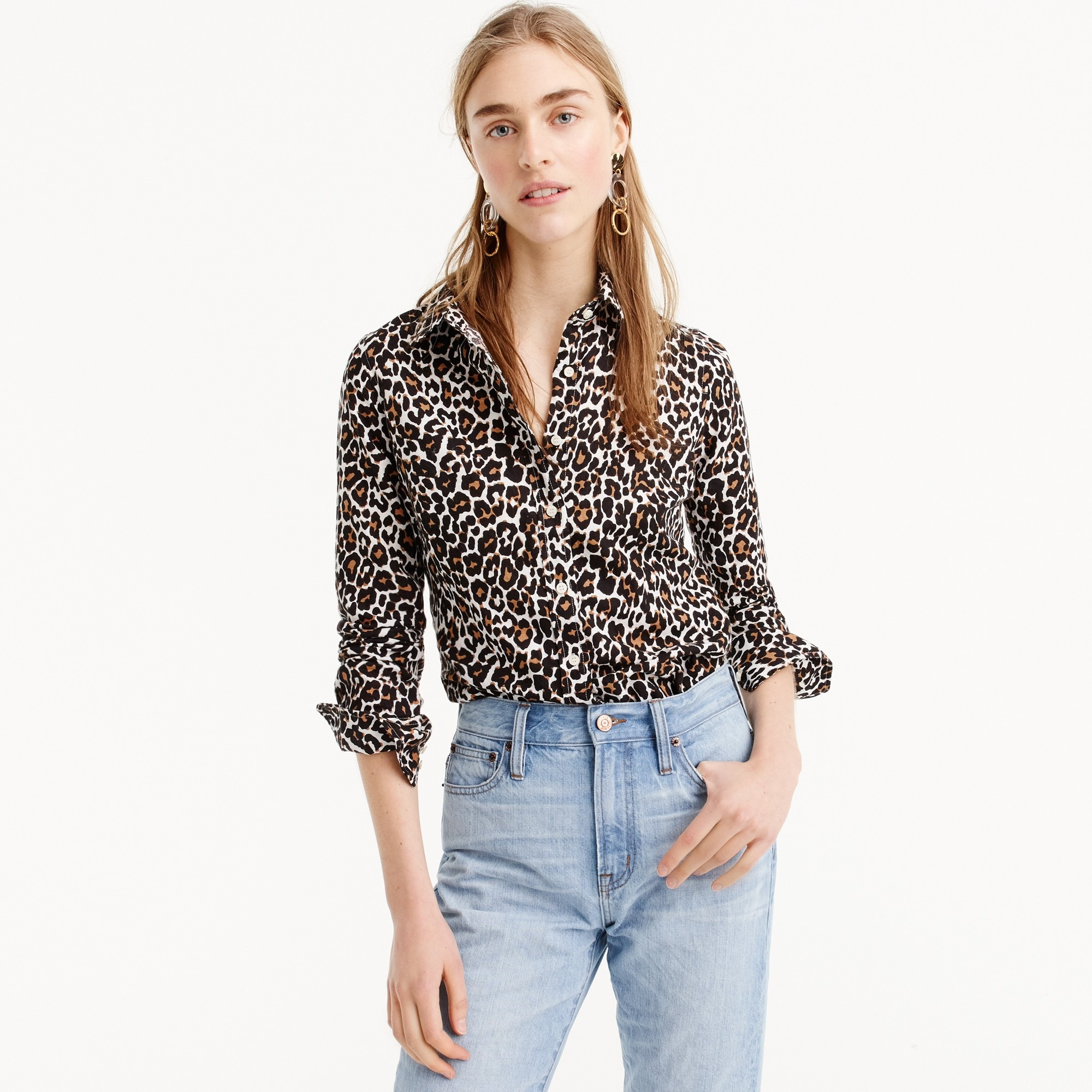 Petite slim perfect shirt in leopard print