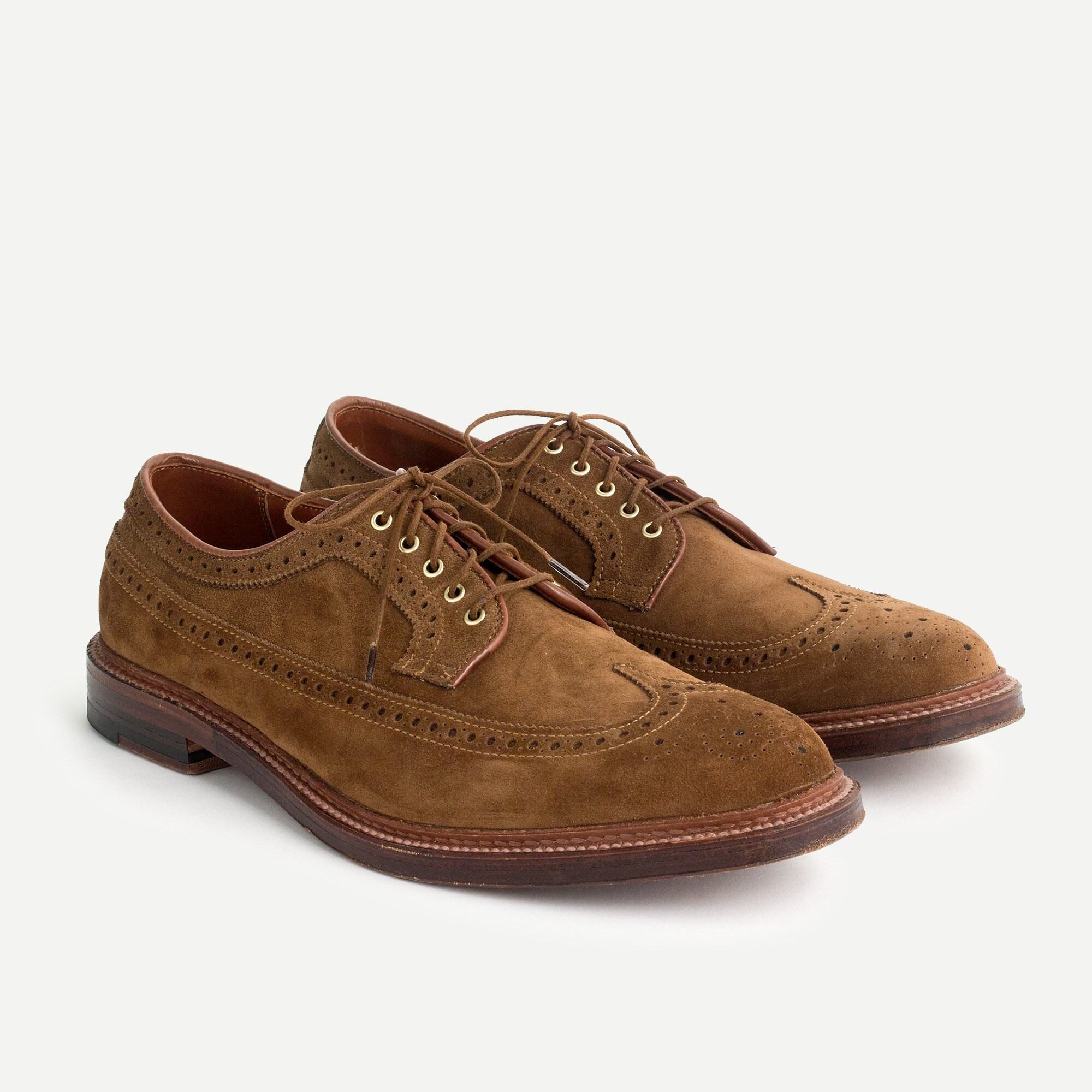Alden® for J.Crew longwing bluchers in tan suede