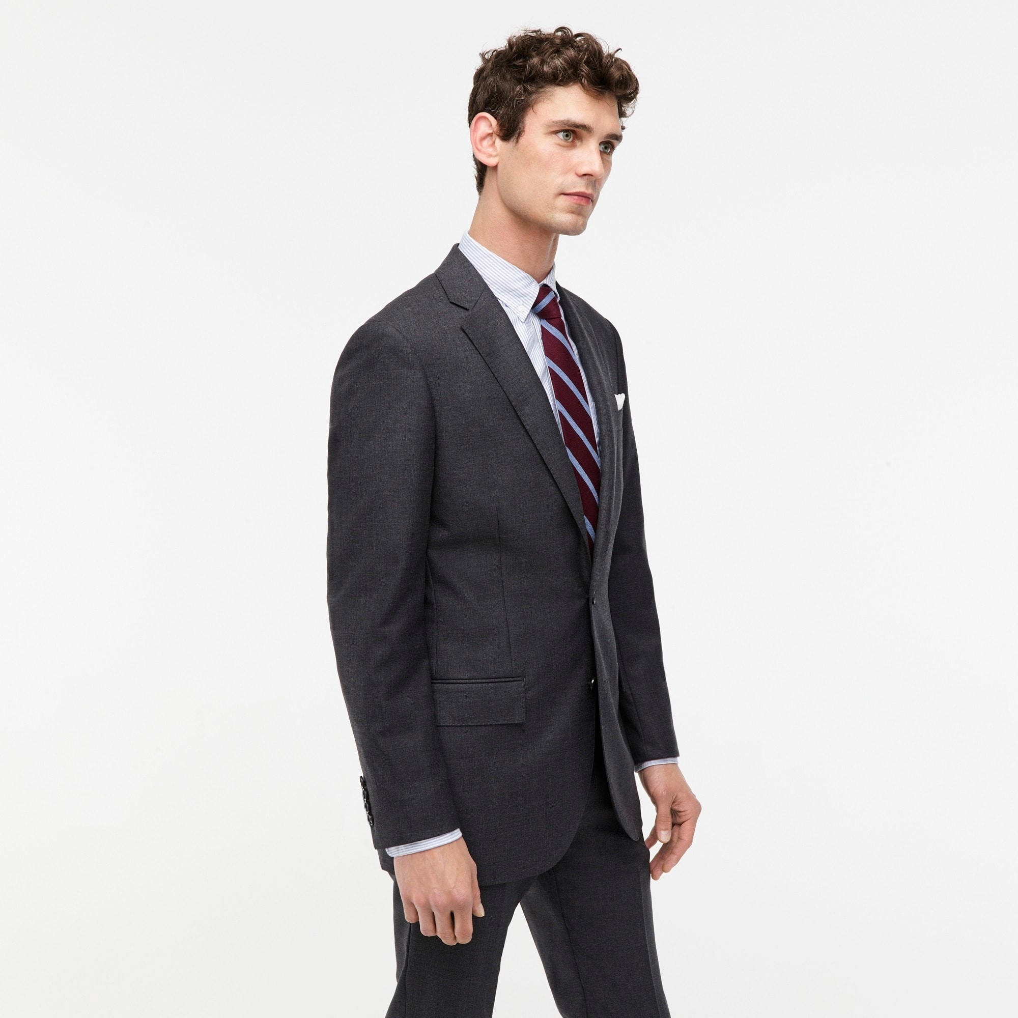 Image 3 for Ludlow Slim-fit suit jacket with double vent in charcoal American Wool
