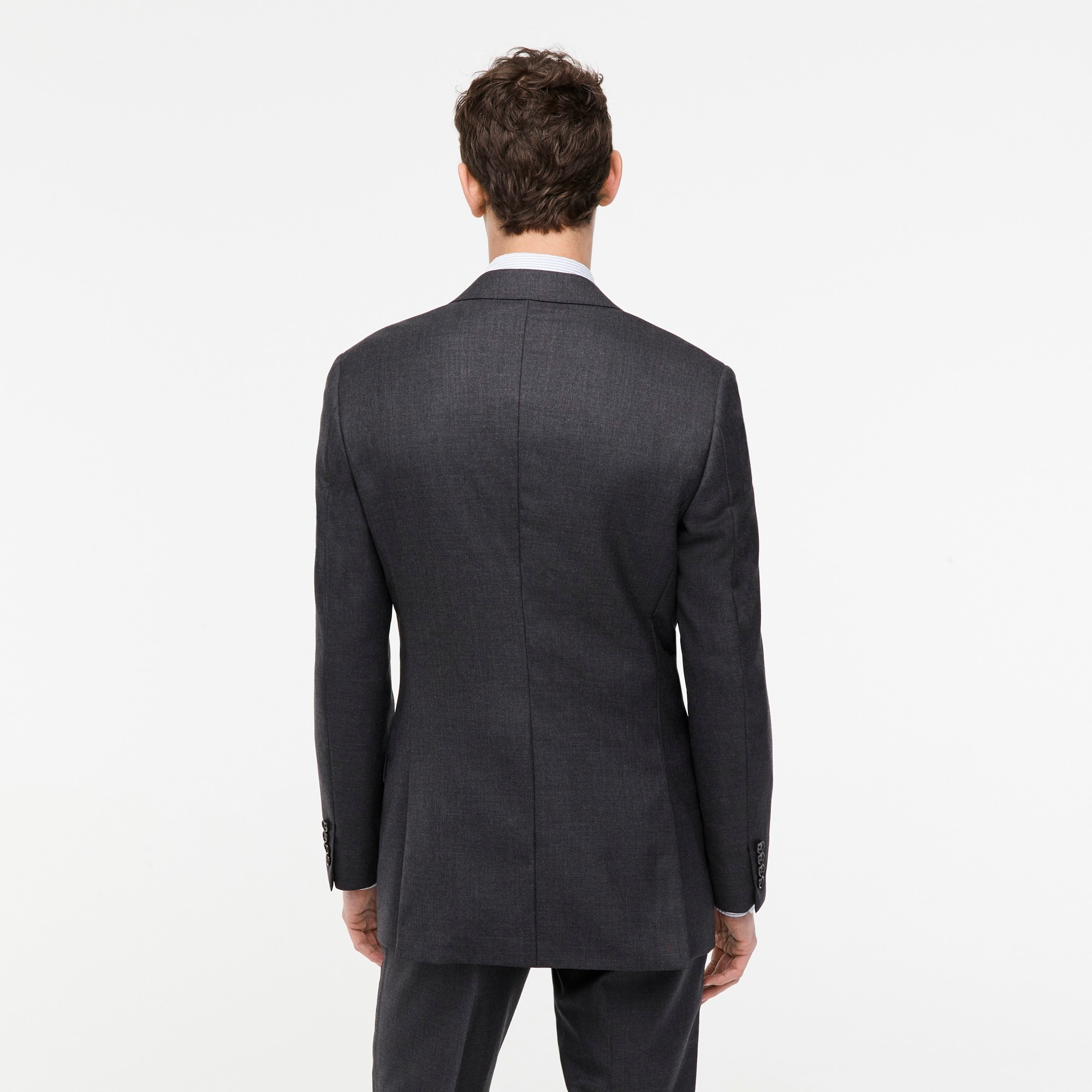 Ludlow Slim-fit suit jacket with double vent in charcoal American Wool