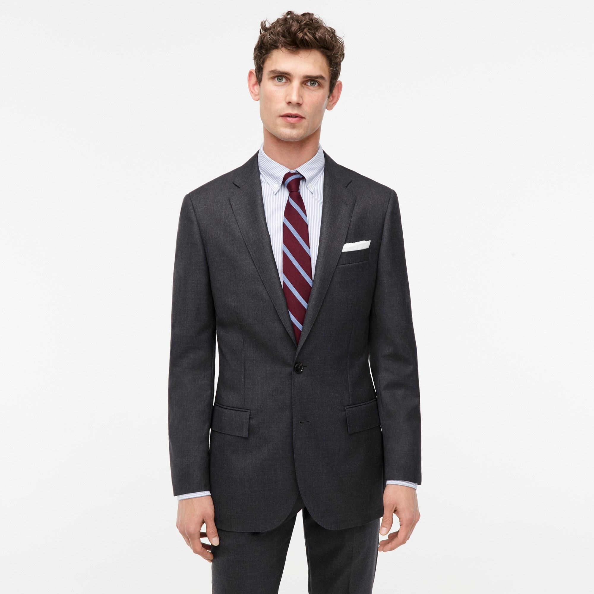 Image 1 for Ludlow Slim-fit suit jacket with double vent in charcoal American Wool