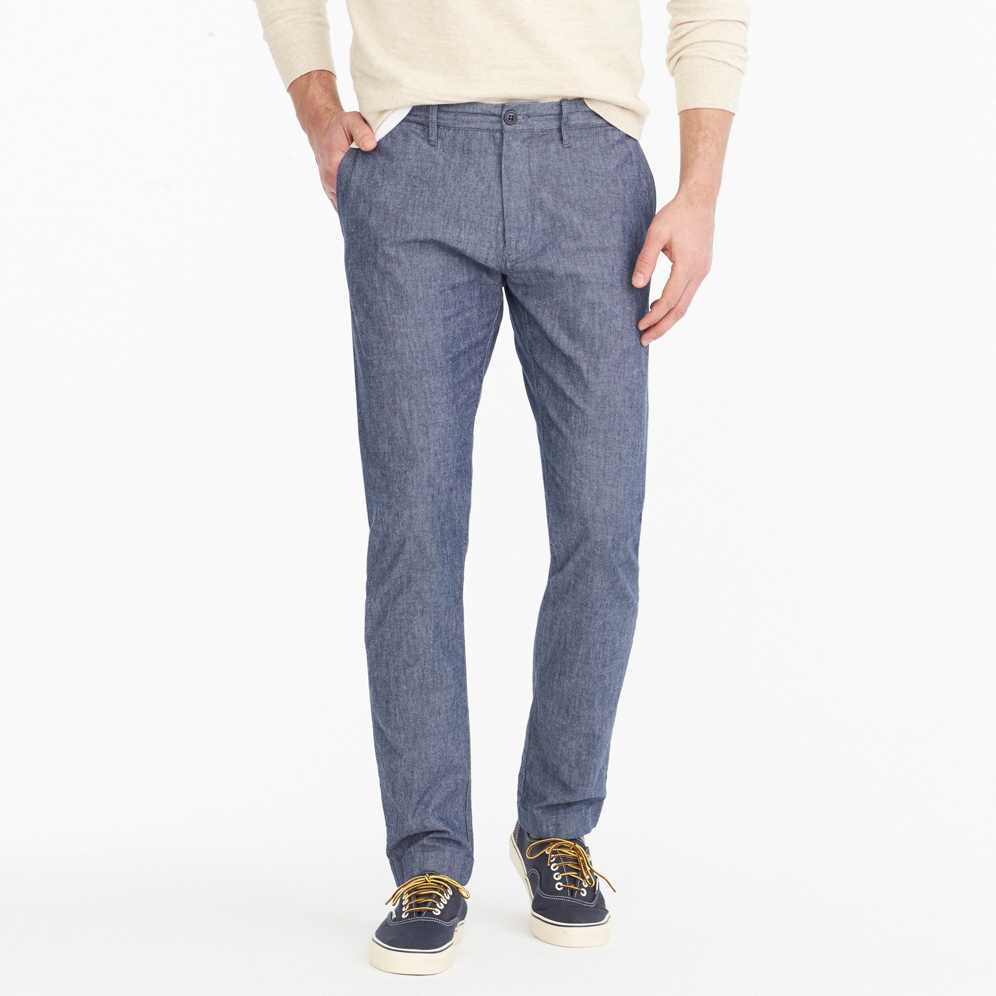 484 slim-fit pant in stretch blue chambray men pants c