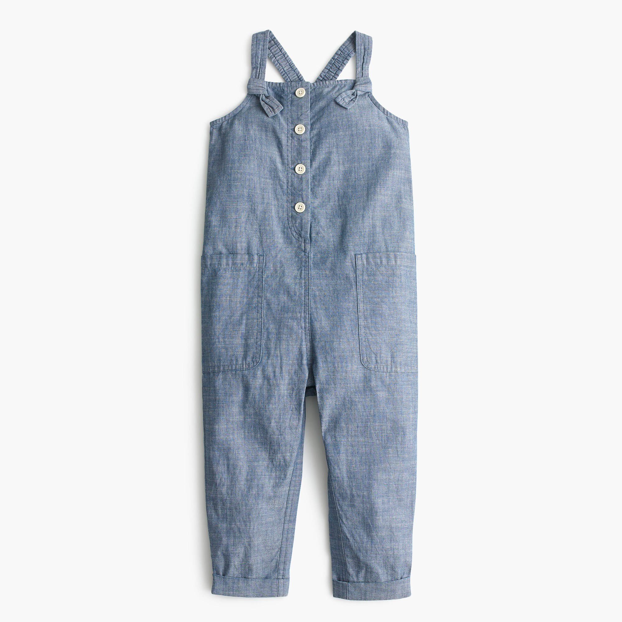 Girls' chambray jumpsuit