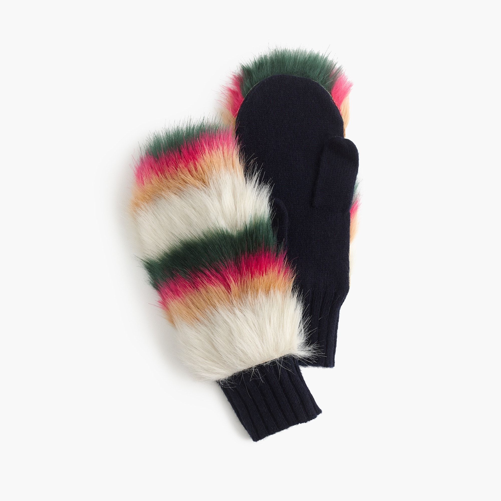Girls' faux fur-trimmed mittens in stripe