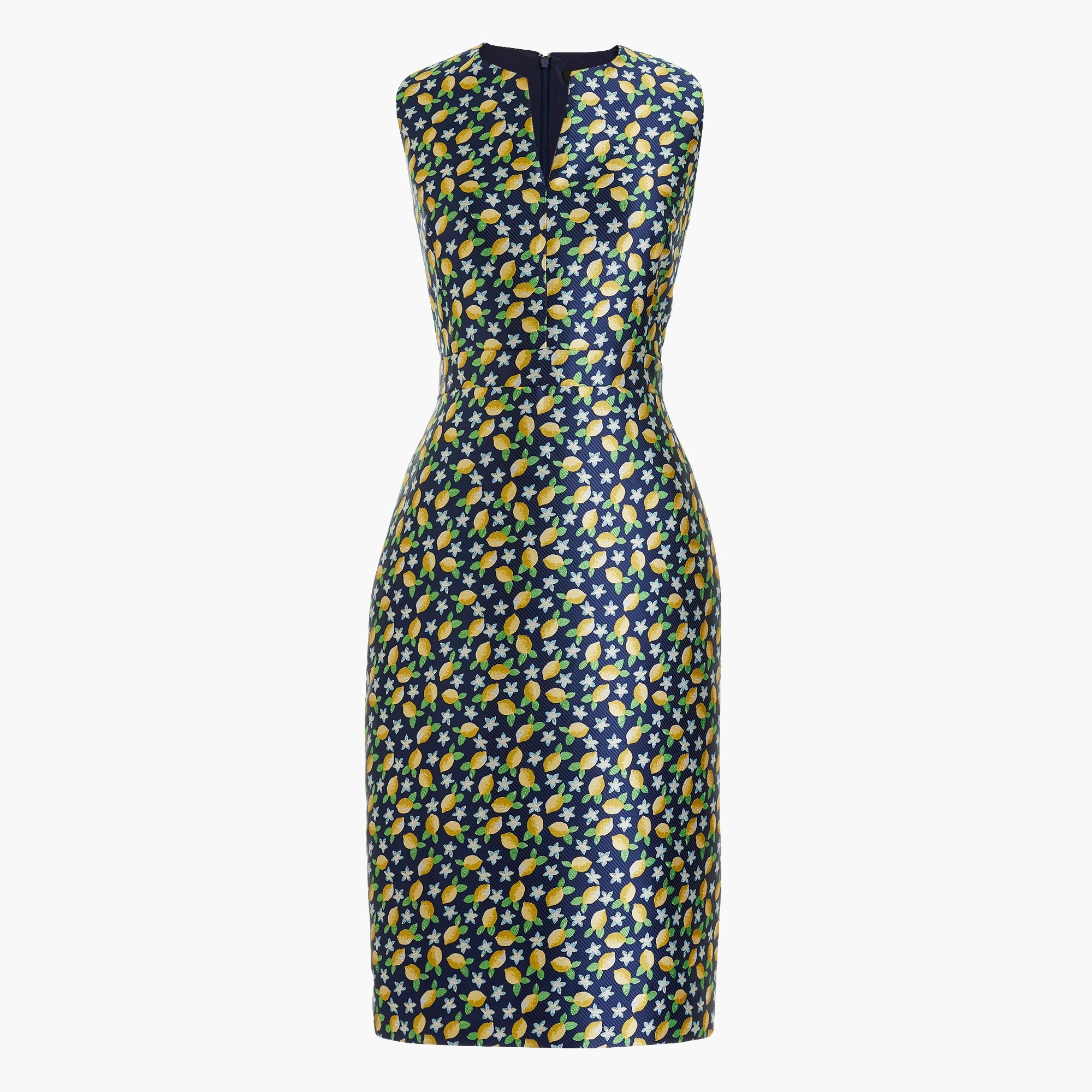 V-neck sheath dress  in lemon jacquard