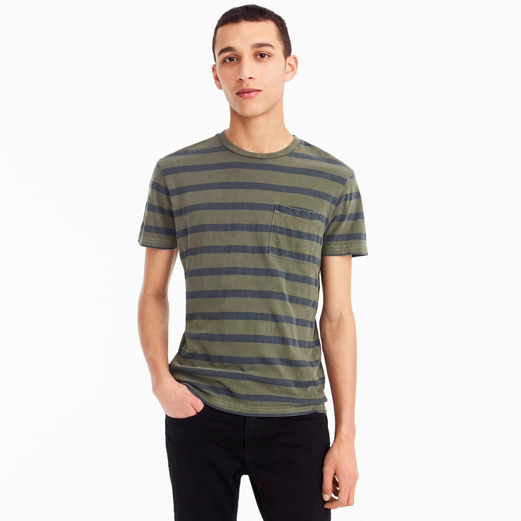Image 2 for Garment-dyed T-shirt in harbor stripe