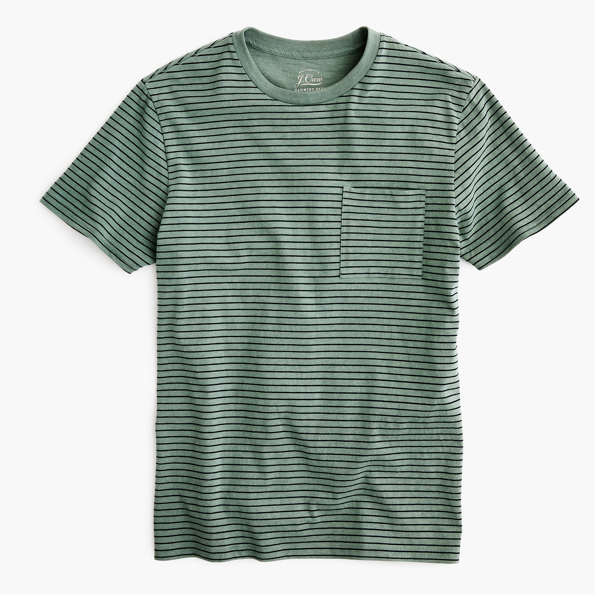 Garment-dyed T-shirt in green stripe