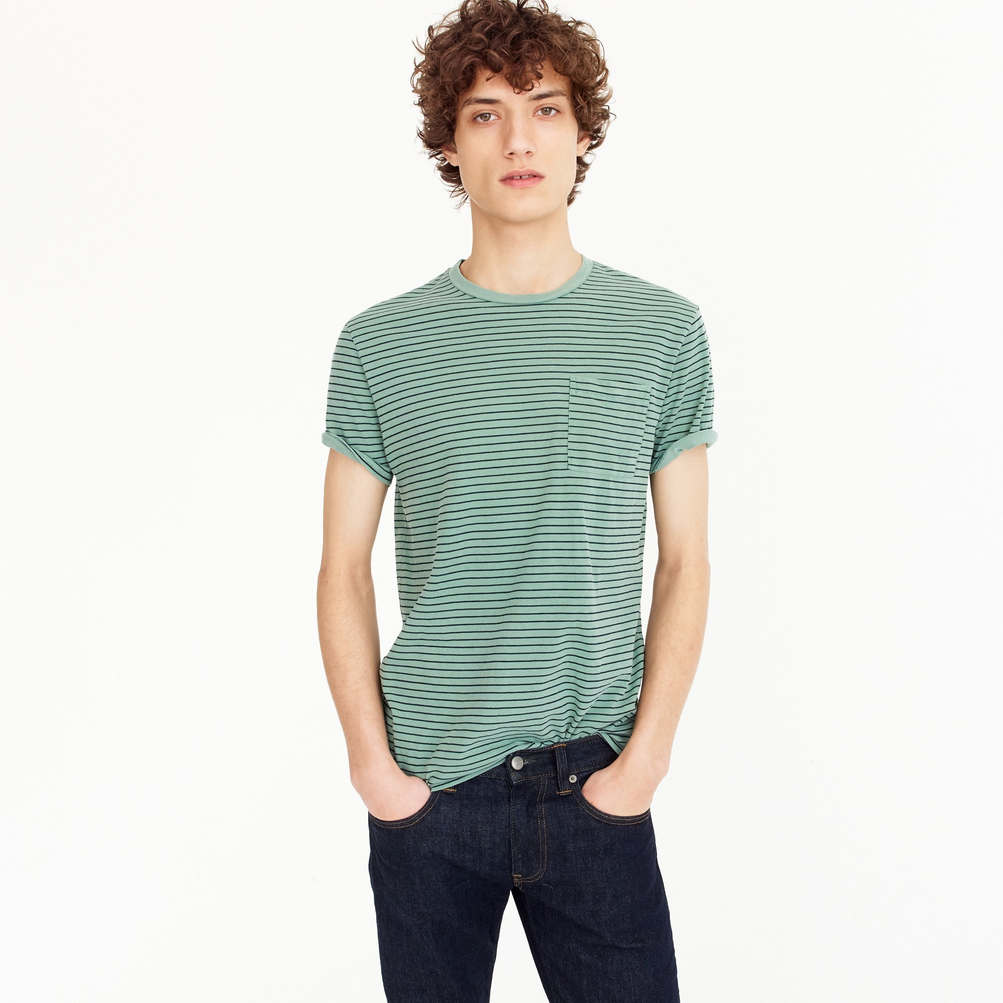 Image 1 for Garment-dyed T-shirt in green stripe