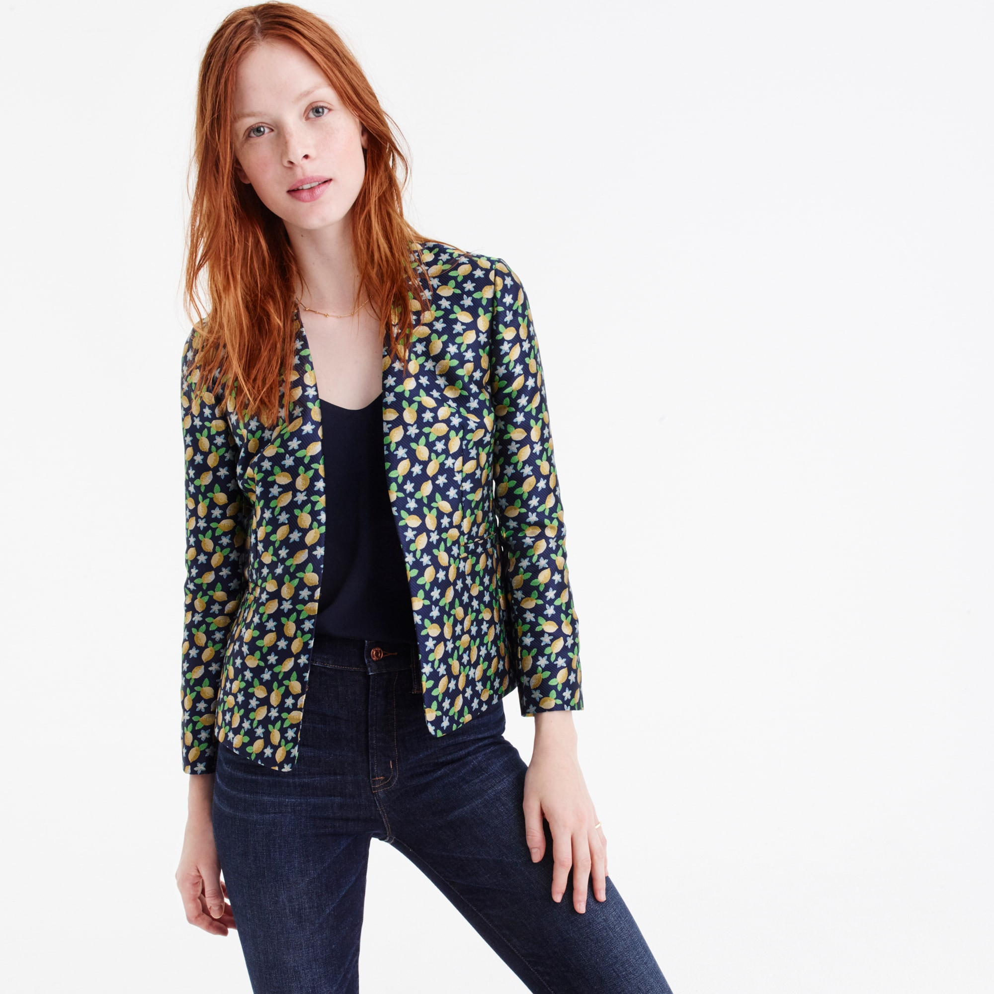 Image 3 for Going-out blazer in lemon jacquard