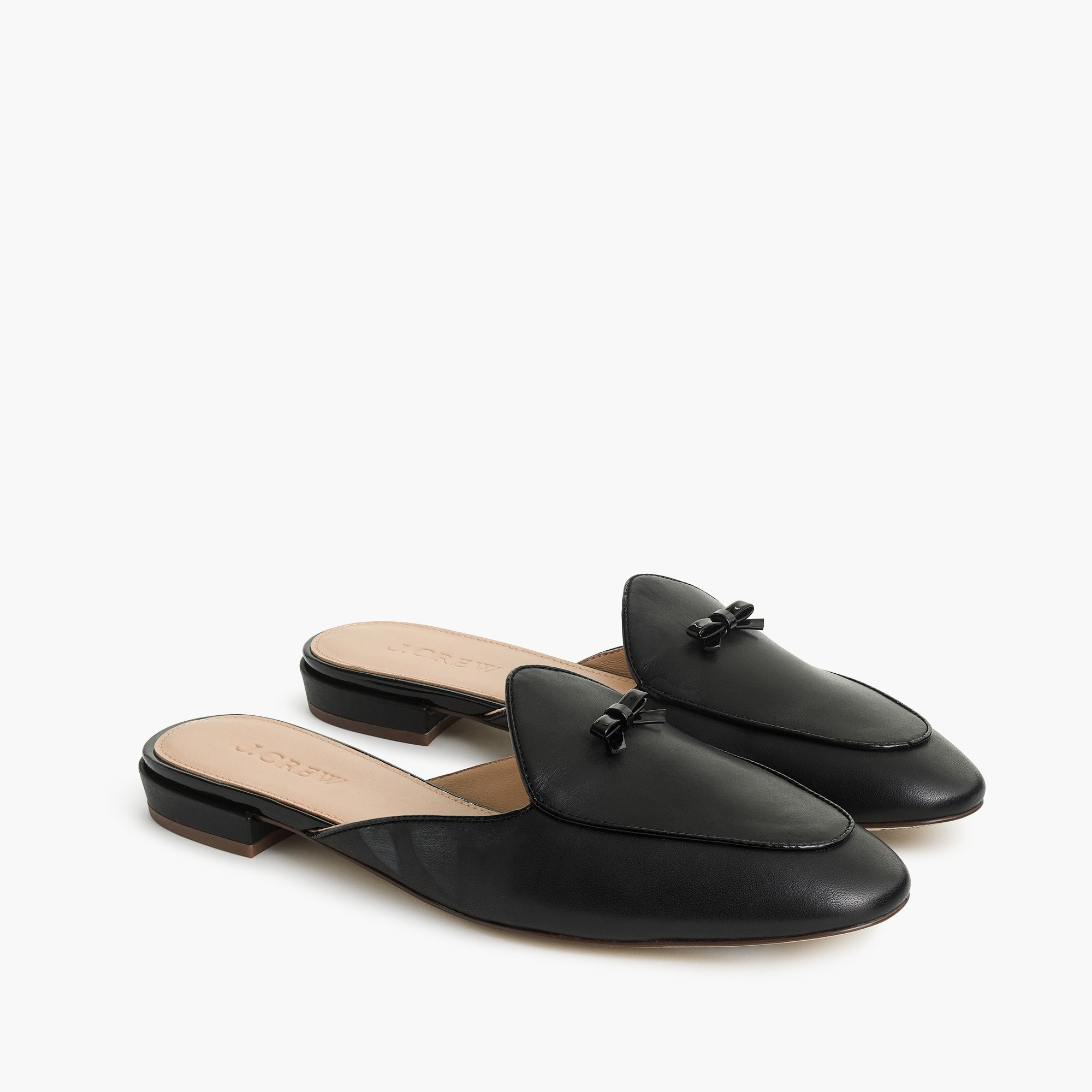 Piped loafer mules in leather women shoes c