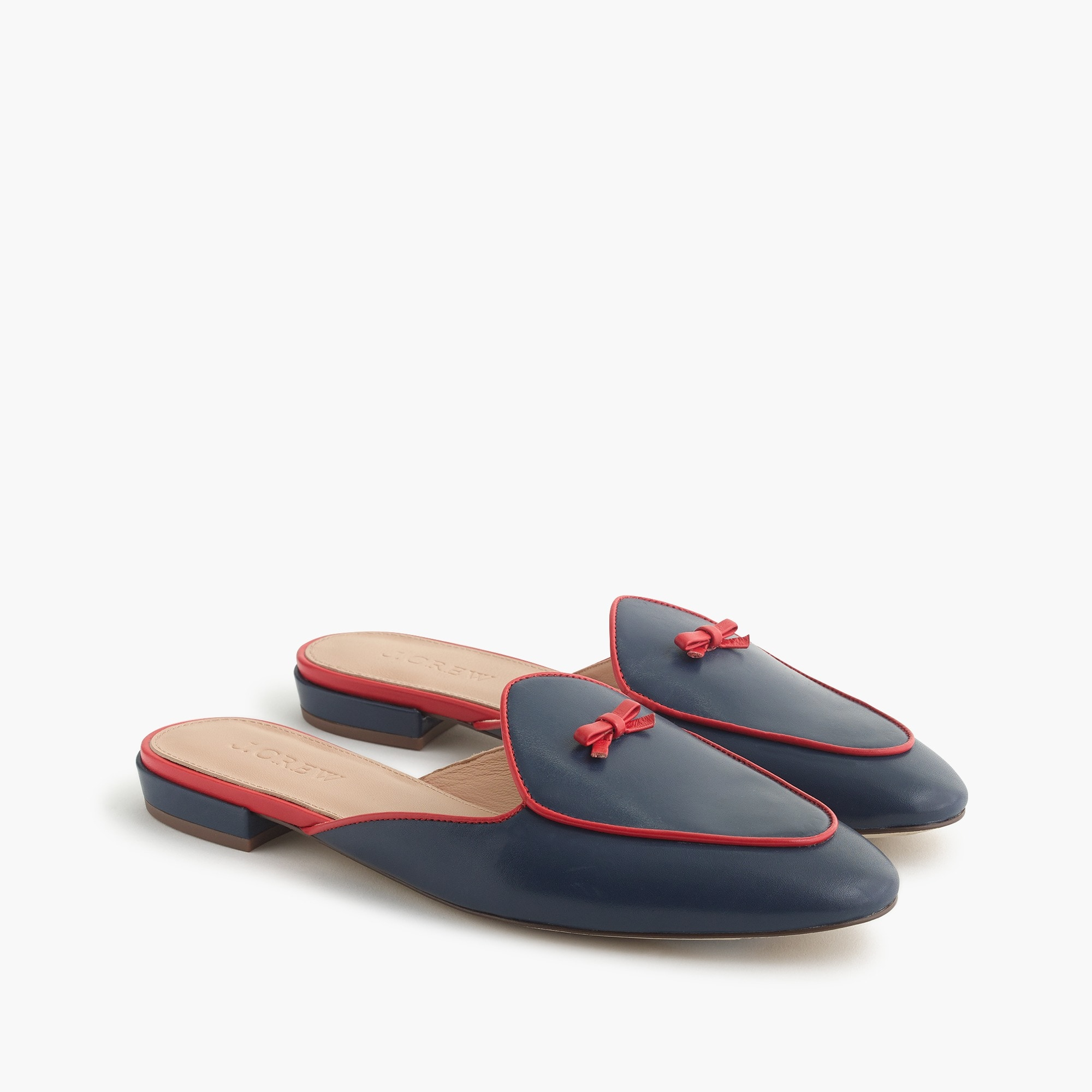Piped loafer mules in leather