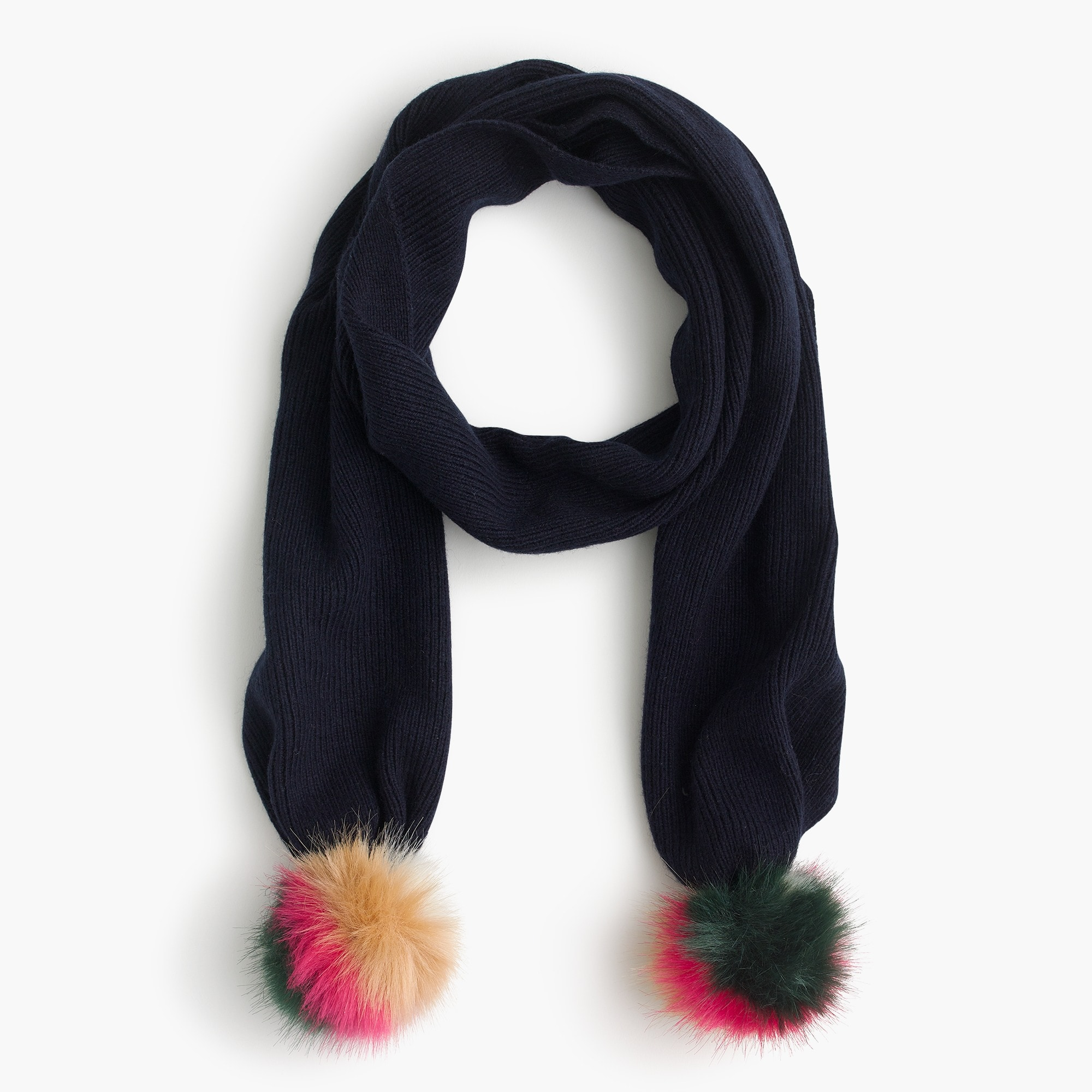 Girls' knit scarf with striped furry pom-poms